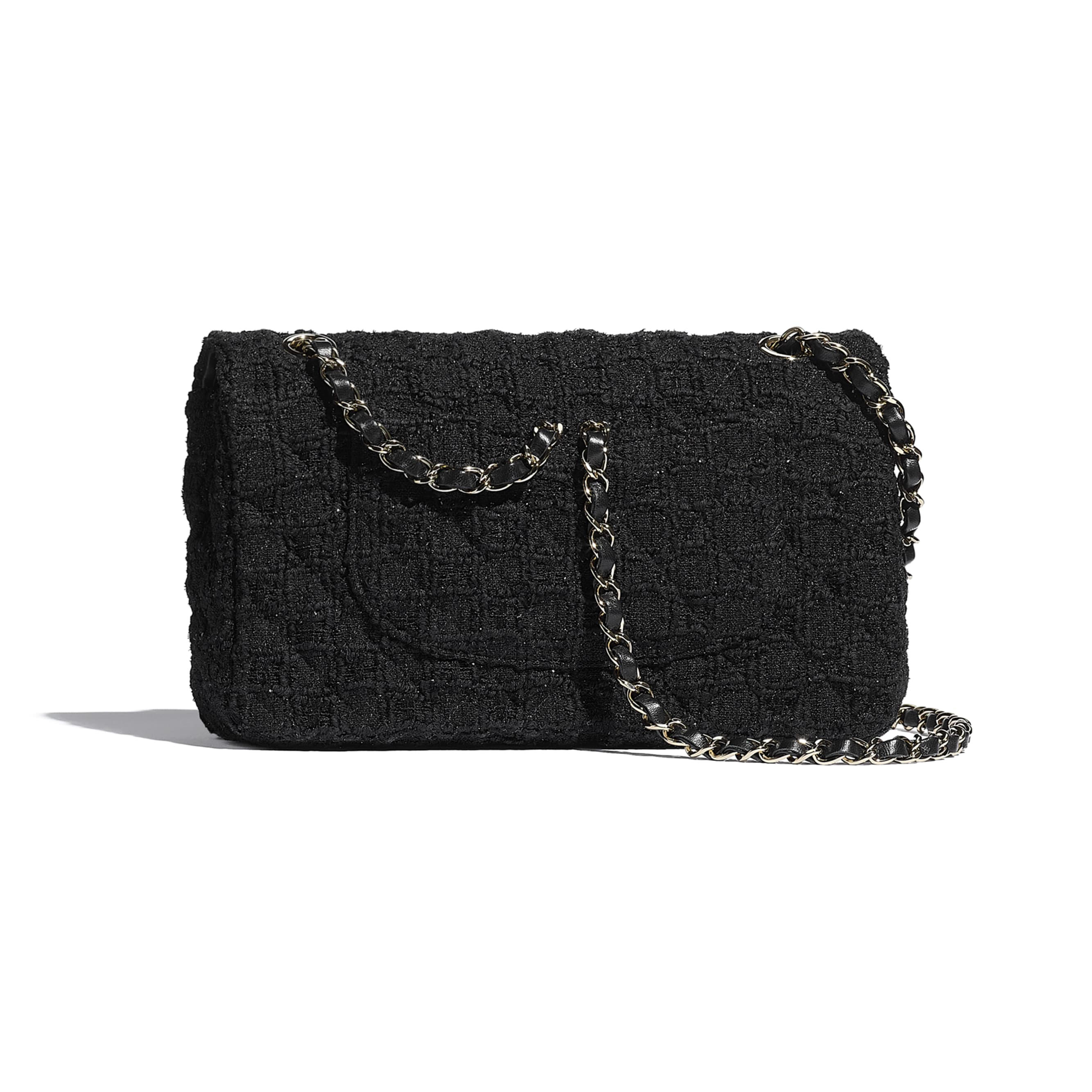 Classic Handbag - Black - Tweed & Gold Metal - CHANEL - Alternative view - see standard sized version