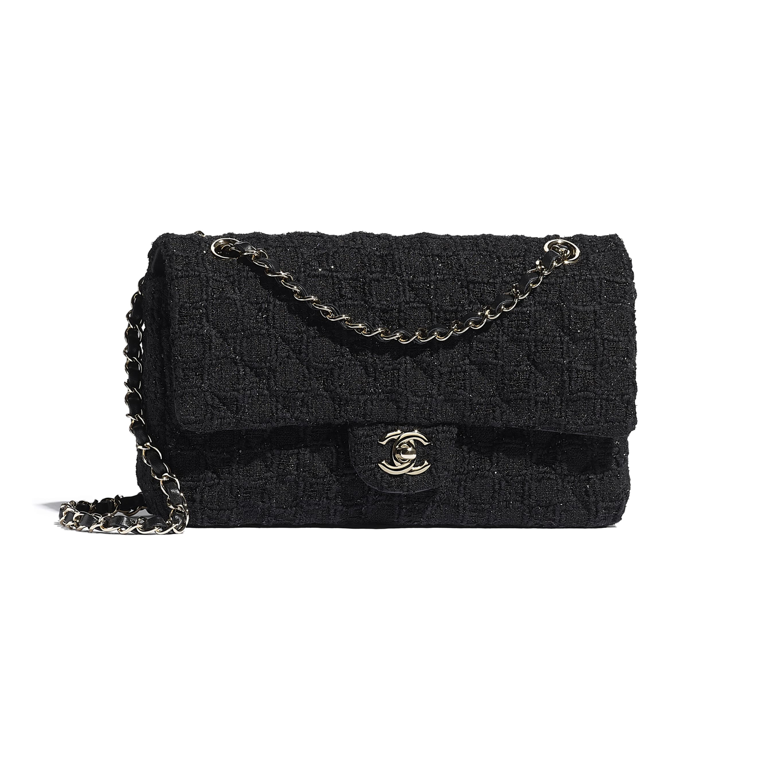 Classic Handbag - Black - Tweed & Gold Metal - CHANEL - Default view - see standard sized version