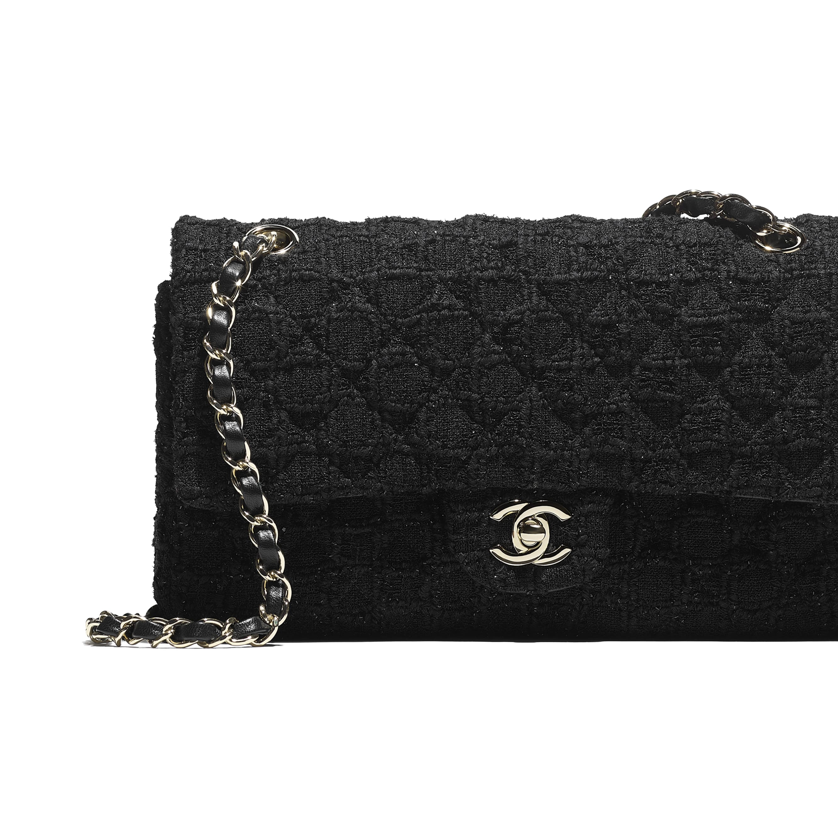 Classic Handbag - Black - Tweed & Gold Metal - CHANEL - Extra view - see standard sized version