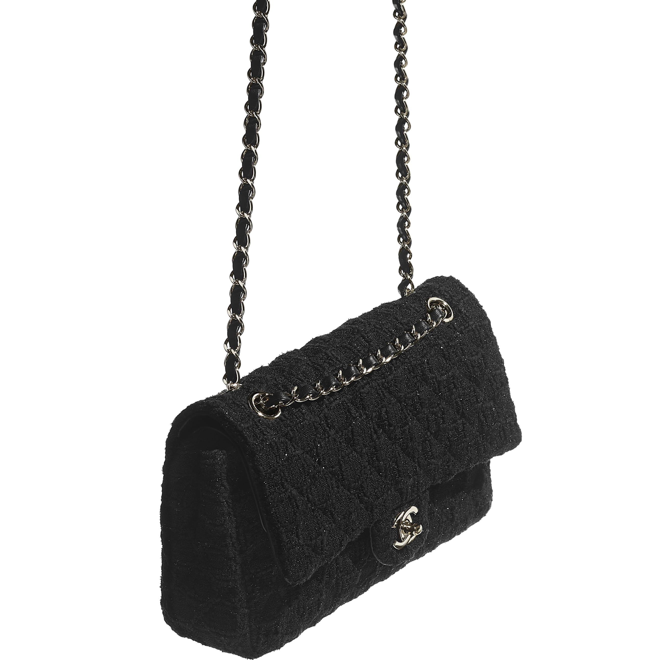 Classic Handbag - Black - Tweed & Gold Metal - CHANEL - Other view - see standard sized version