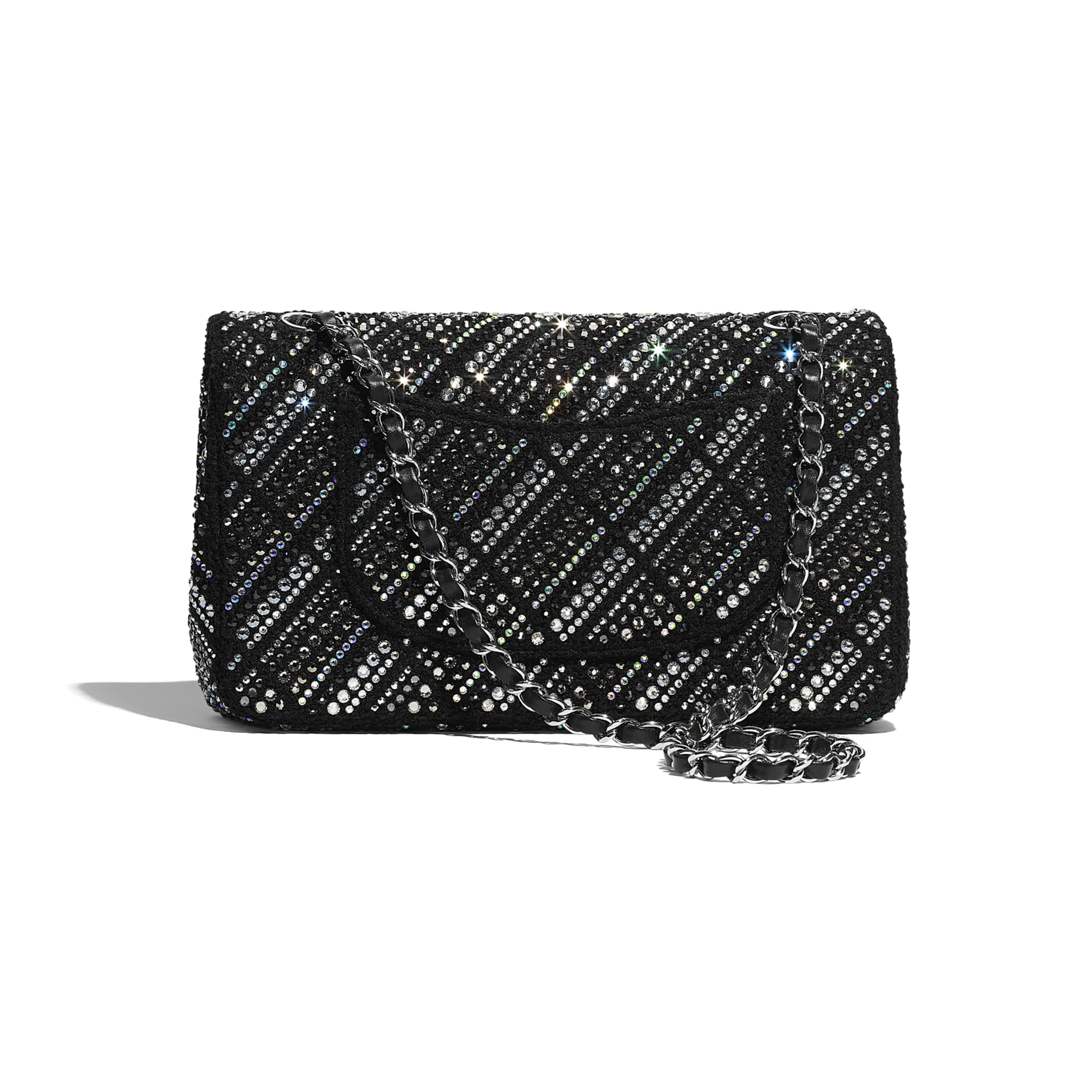 Classic Handbag - Black - Tweed, Diamantés & Silver Metal - CHANEL - Alternative view - see standard sized version
