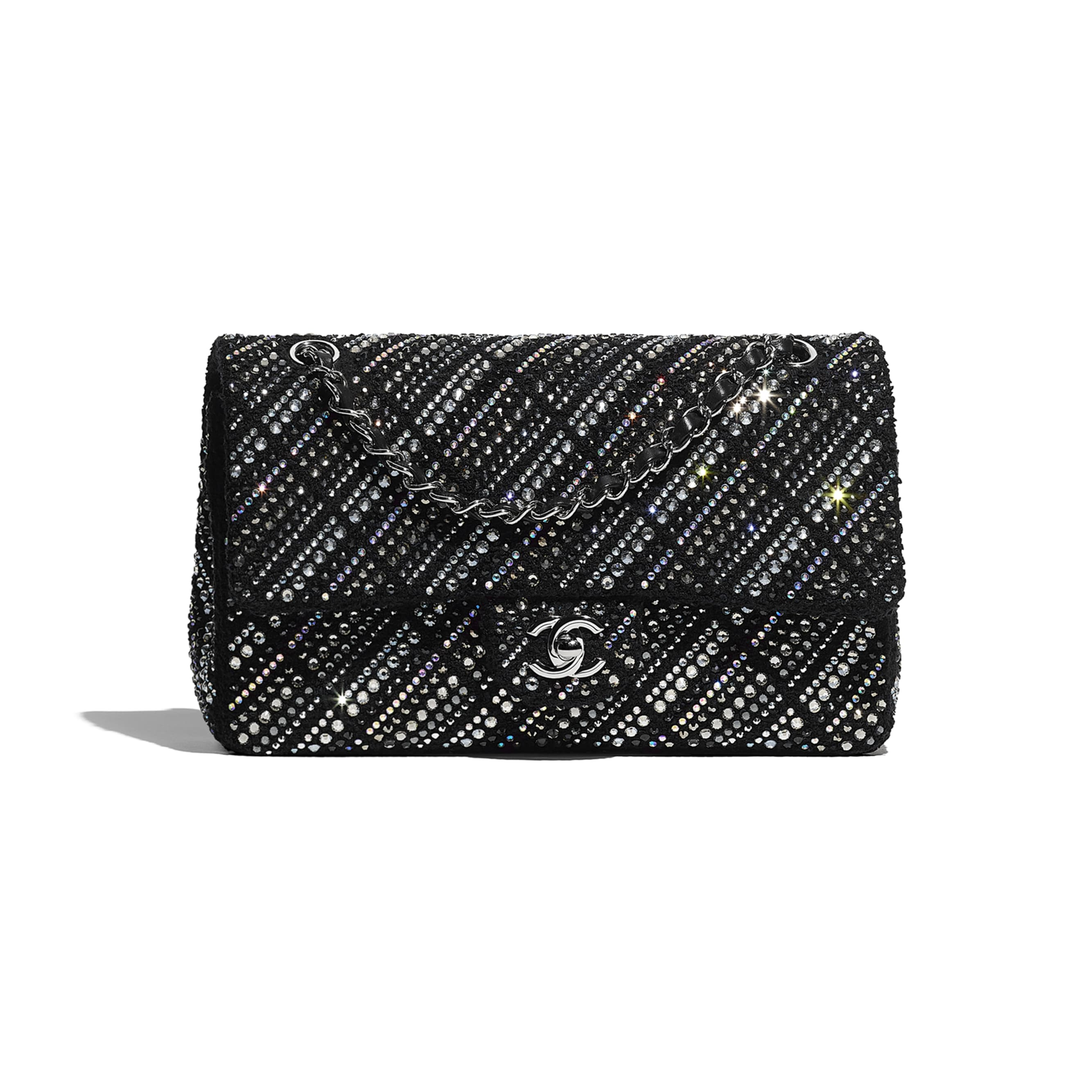 Classic Handbag - Black - Tweed, Diamantés & Silver Metal - CHANEL - Default view - see standard sized version