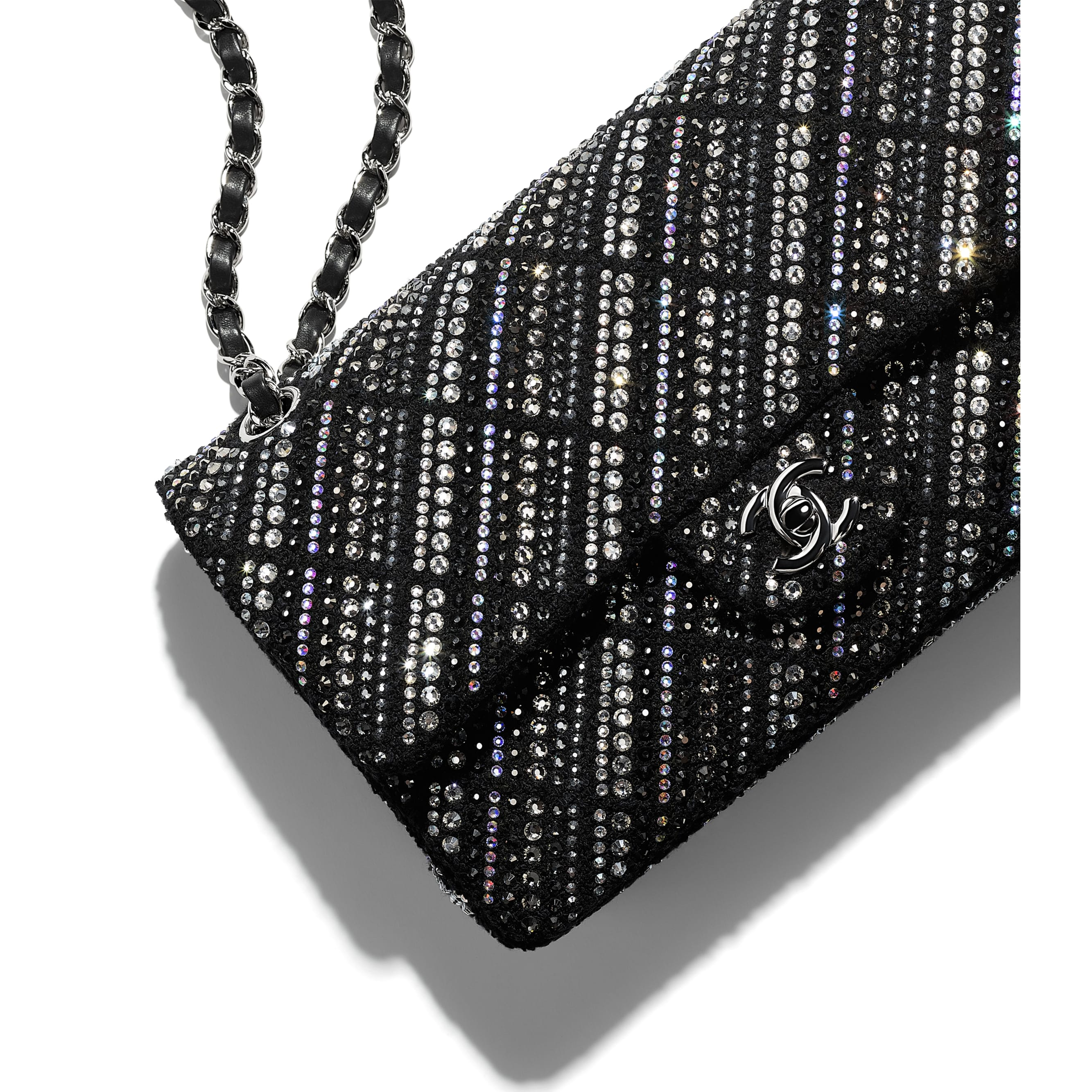 Classic Handbag - Black - Tweed, Diamantés & Silver Metal - CHANEL - Extra view - see standard sized version