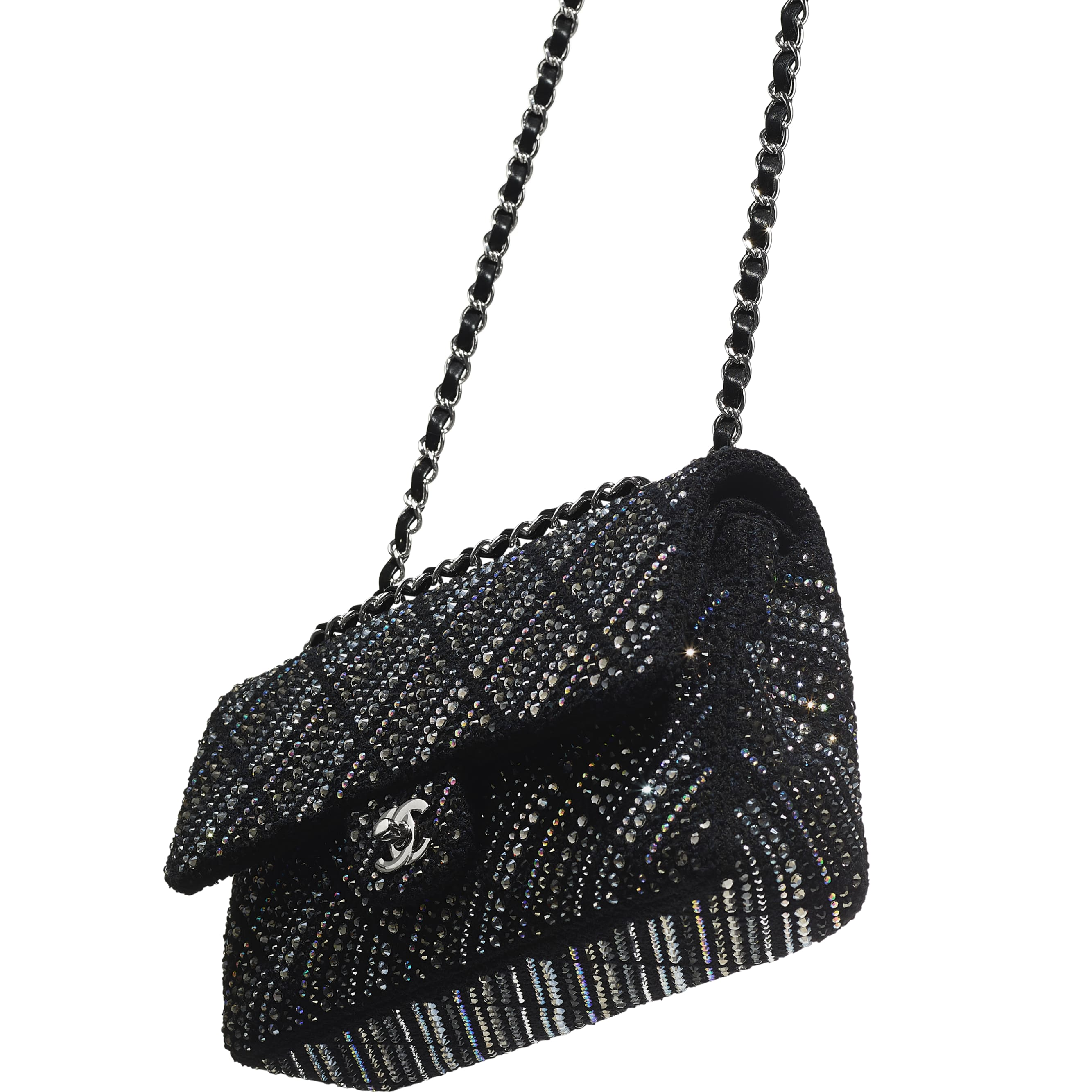Classic Handbag - Black - Tweed, Diamantés & Silver Metal - CHANEL - Other view - see standard sized version