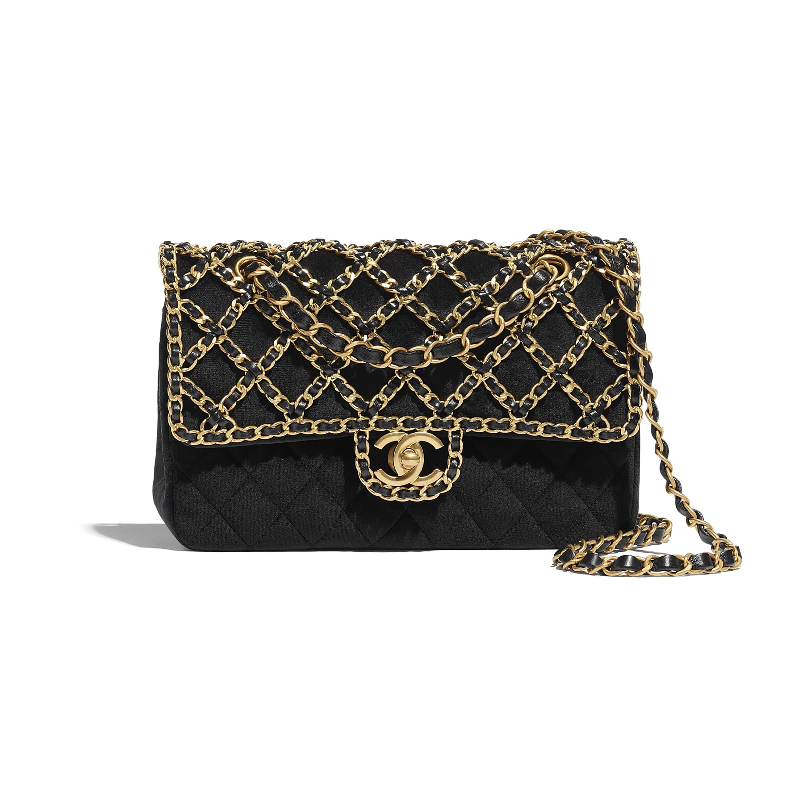 Classic Handbag - Black - Velvet & Gold Metal - CHANEL - Default view - see standard sized version