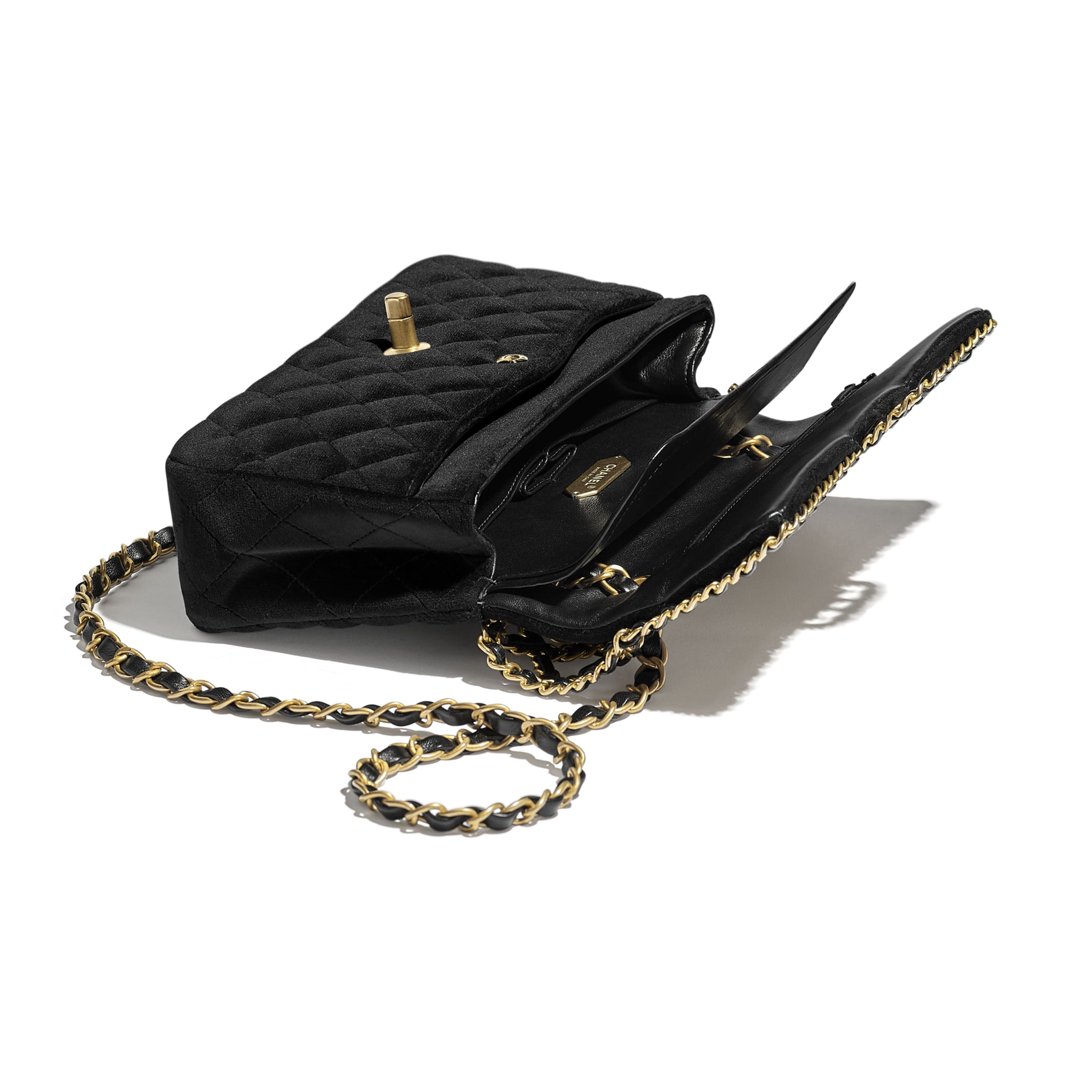 Classic Handbag - Black - Velvet & Gold Metal - CHANEL - Other view - see standard sized version