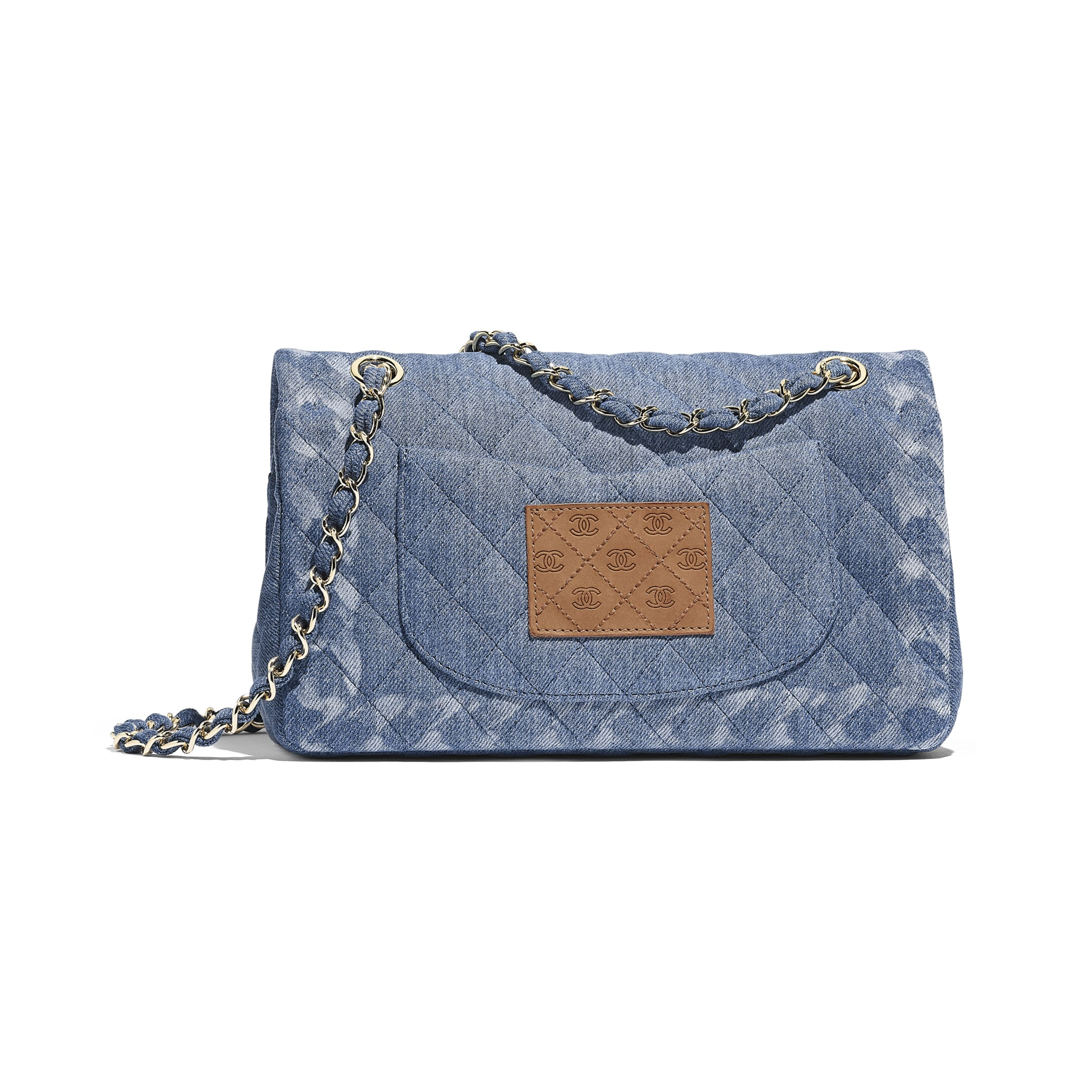 Classic Handbag - Blue - Denim & Gold-Tone Metal - Alternative view - see standard sized version