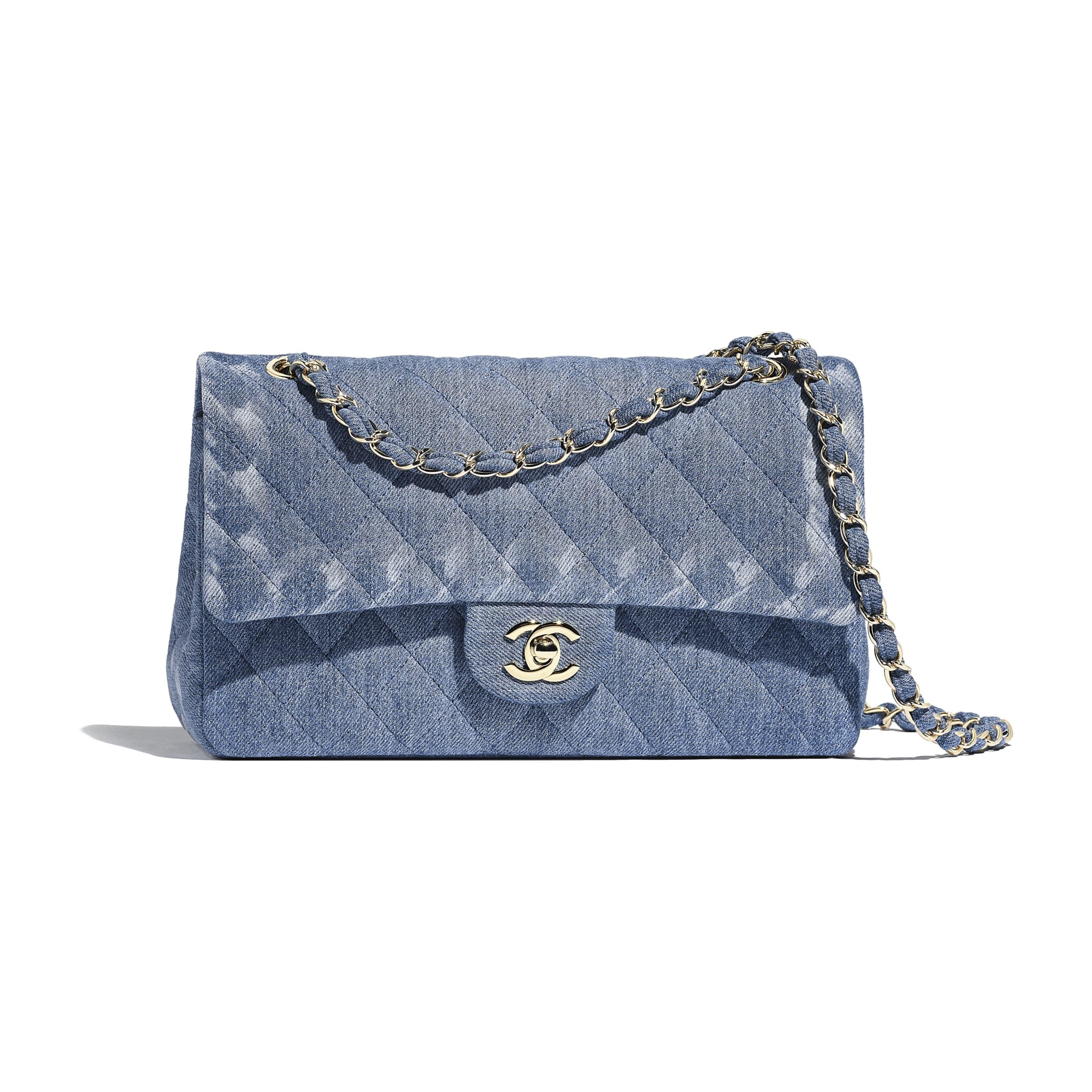 Classic Handbag - Blue - Denim & Gold-Tone Metal - Default view - see standard sized version
