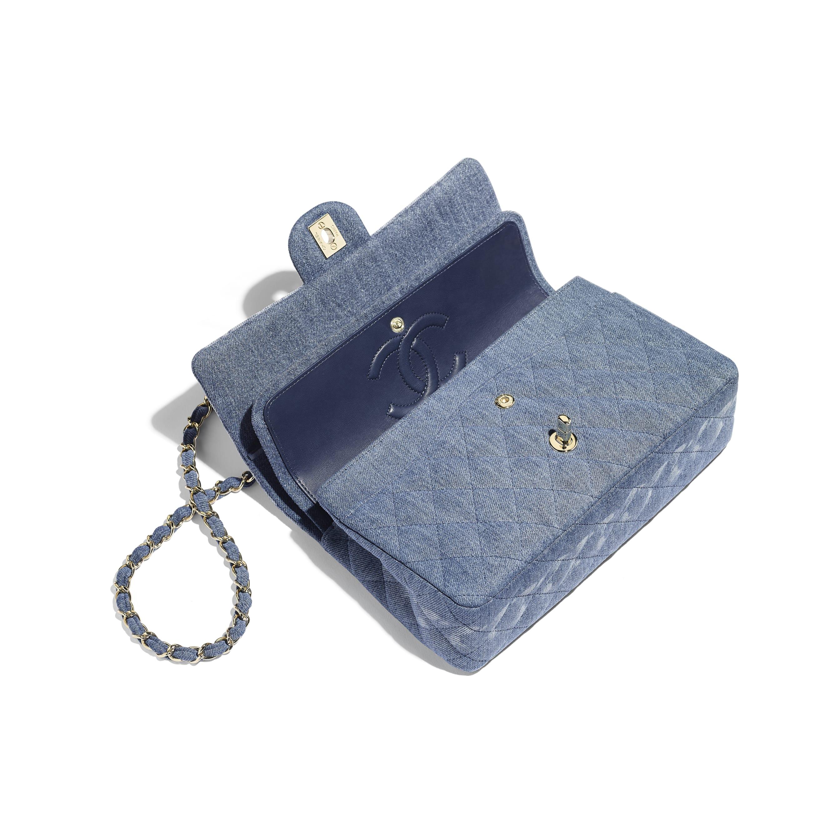 Classic Handbag - Blue - Denim & Gold-Tone Metal - Other view - see standard sized version
