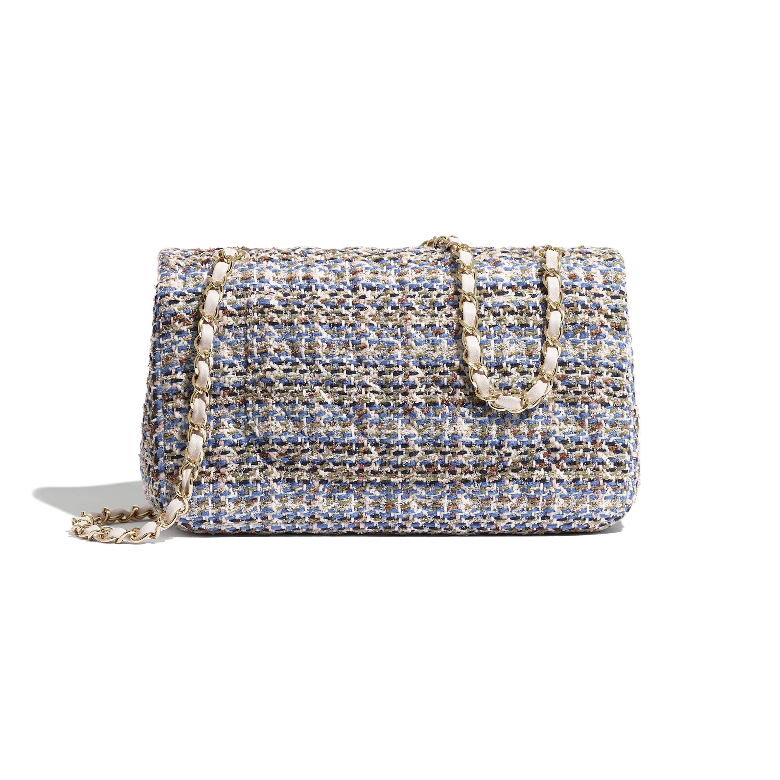 Classic Handbag - Blue, Khaki, White & Navy Blue - Tweed & Gold-Tone Metal - CHANEL - Alternative view - see standard sized version