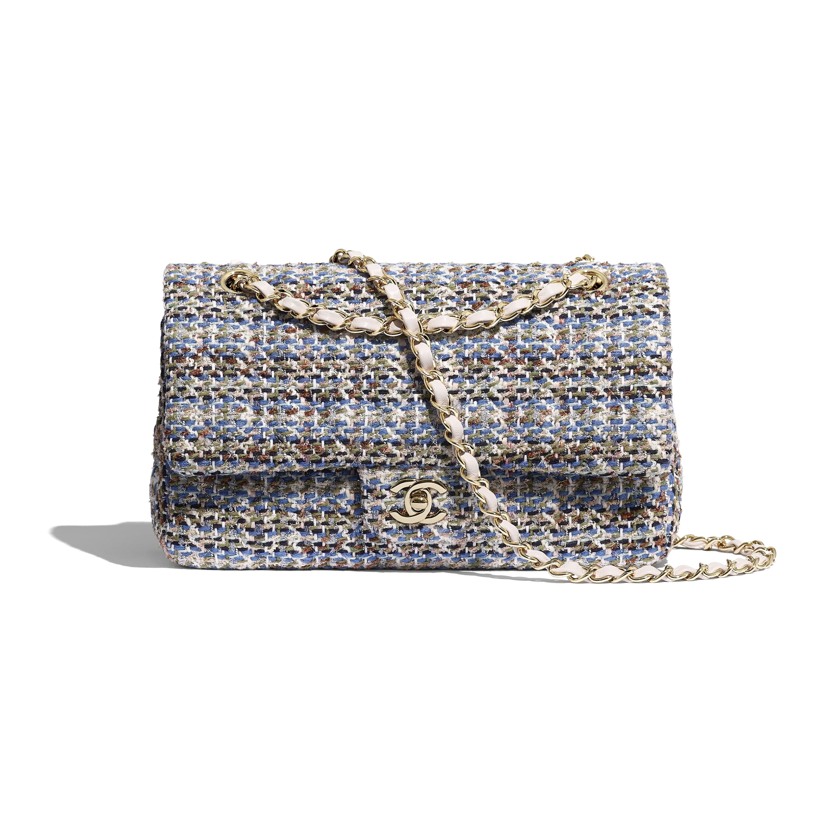 Classic Handbag - Blue, Khaki, White & Navy Blue - Tweed & Gold-Tone Metal - CHANEL - Default view - see standard sized version