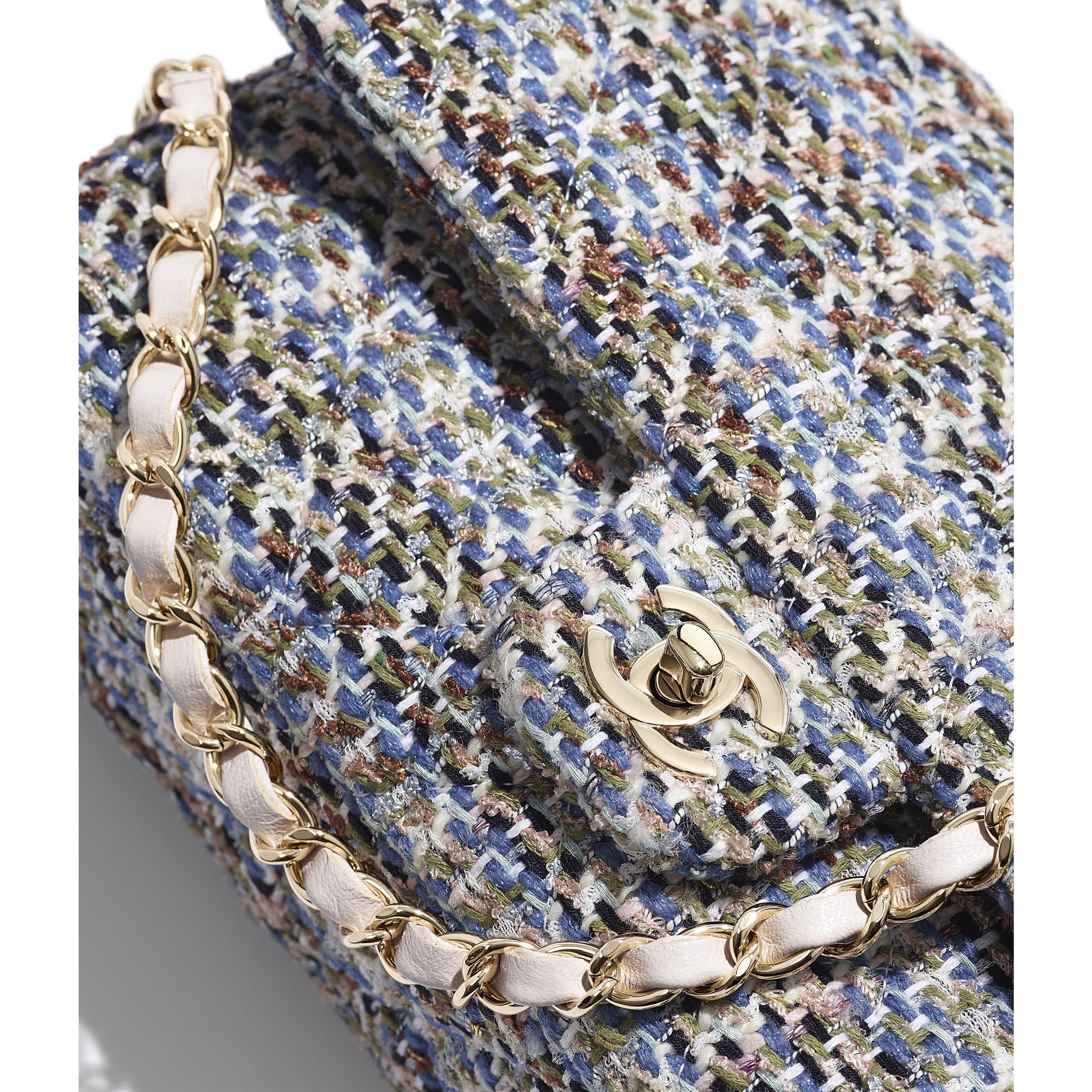 Classic Handbag - Blue, Khaki, White & Navy Blue - Tweed & Gold-Tone Metal - CHANEL - Extra view - see standard sized version