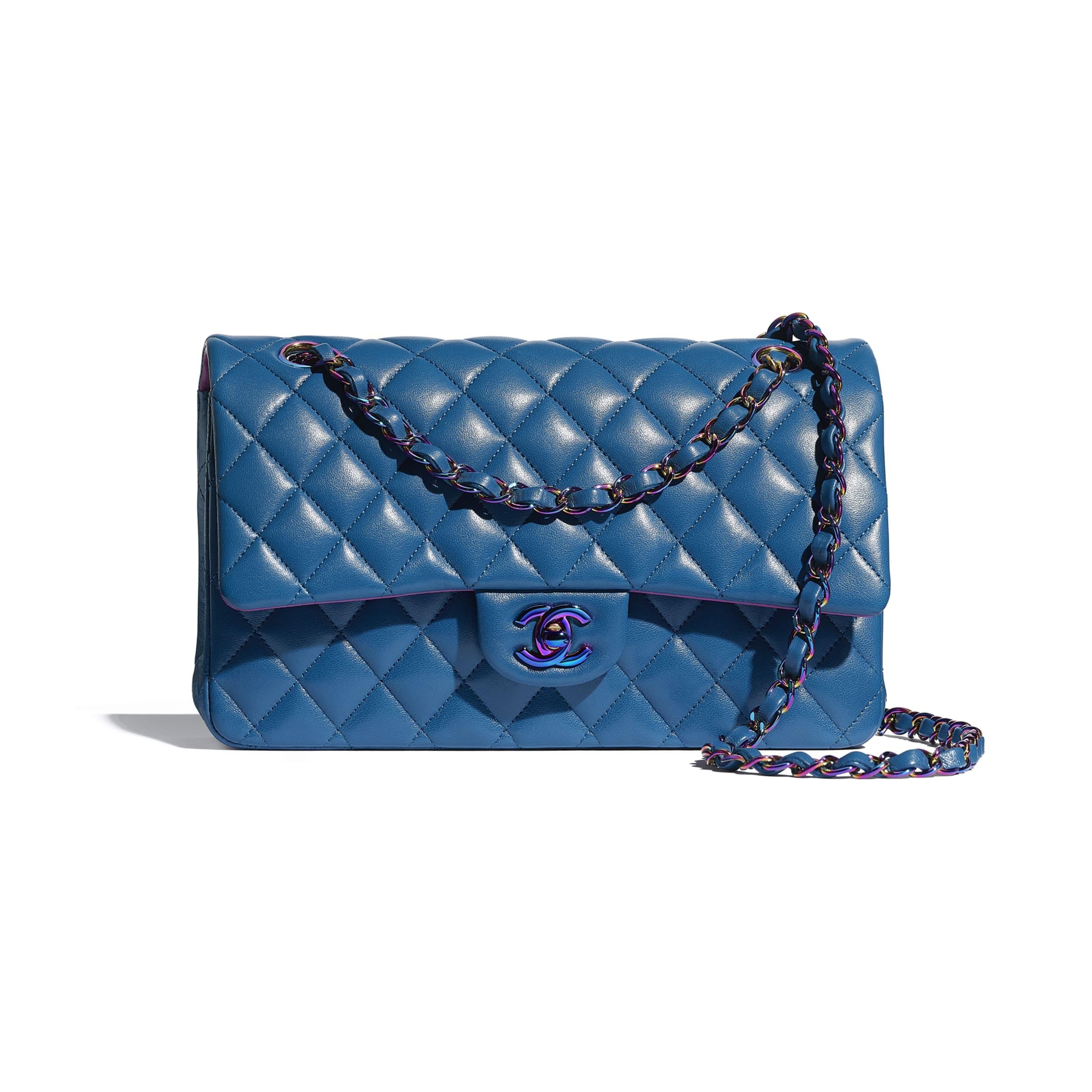 經典款手袋 - 藍色 - 小羊皮及幻彩色金屬 - CHANEL - 預設視圖 - 查看標準尺寸版本