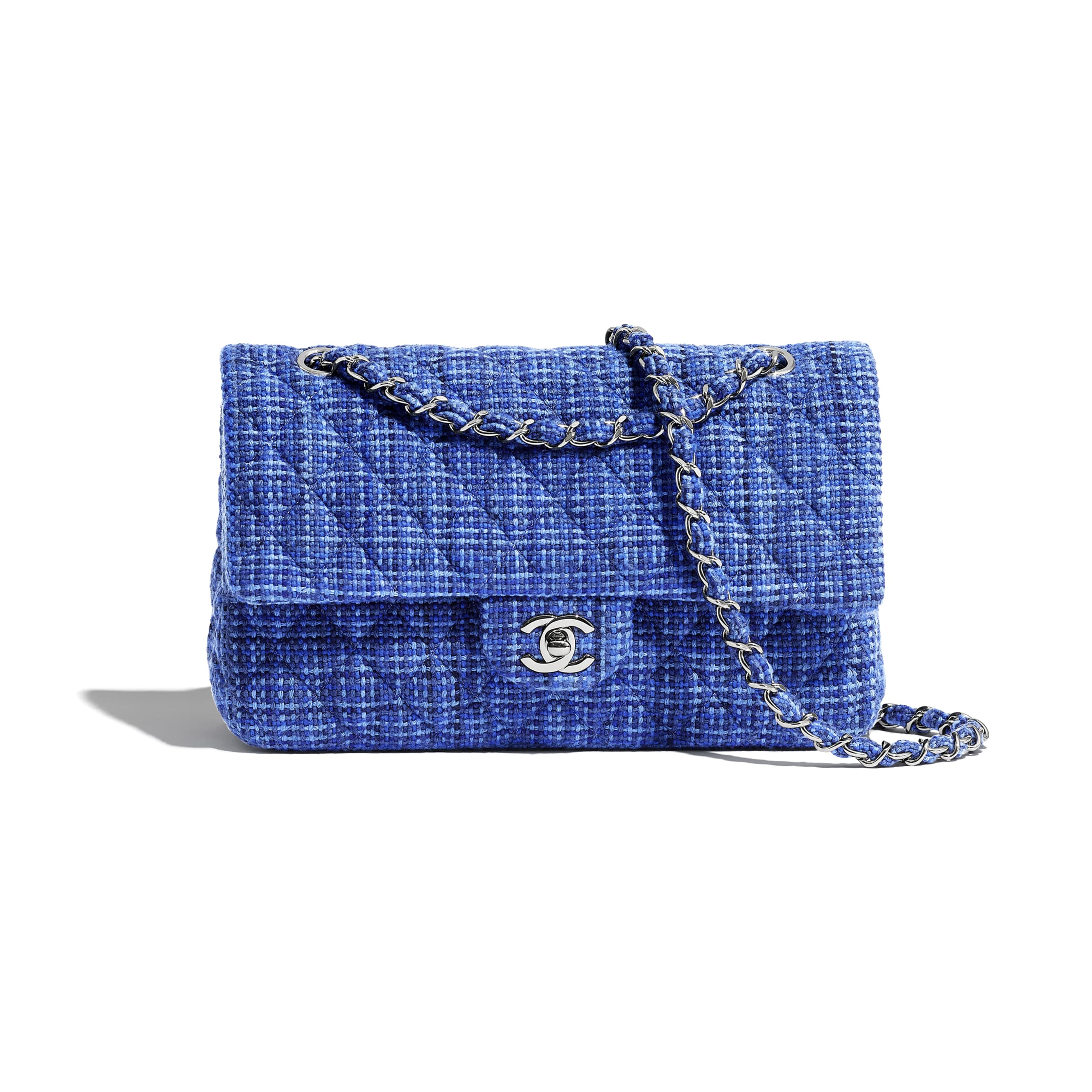 Classic Handbag - Blue - Tweed & Silver-Tone Metal - Default view - see standard sized version