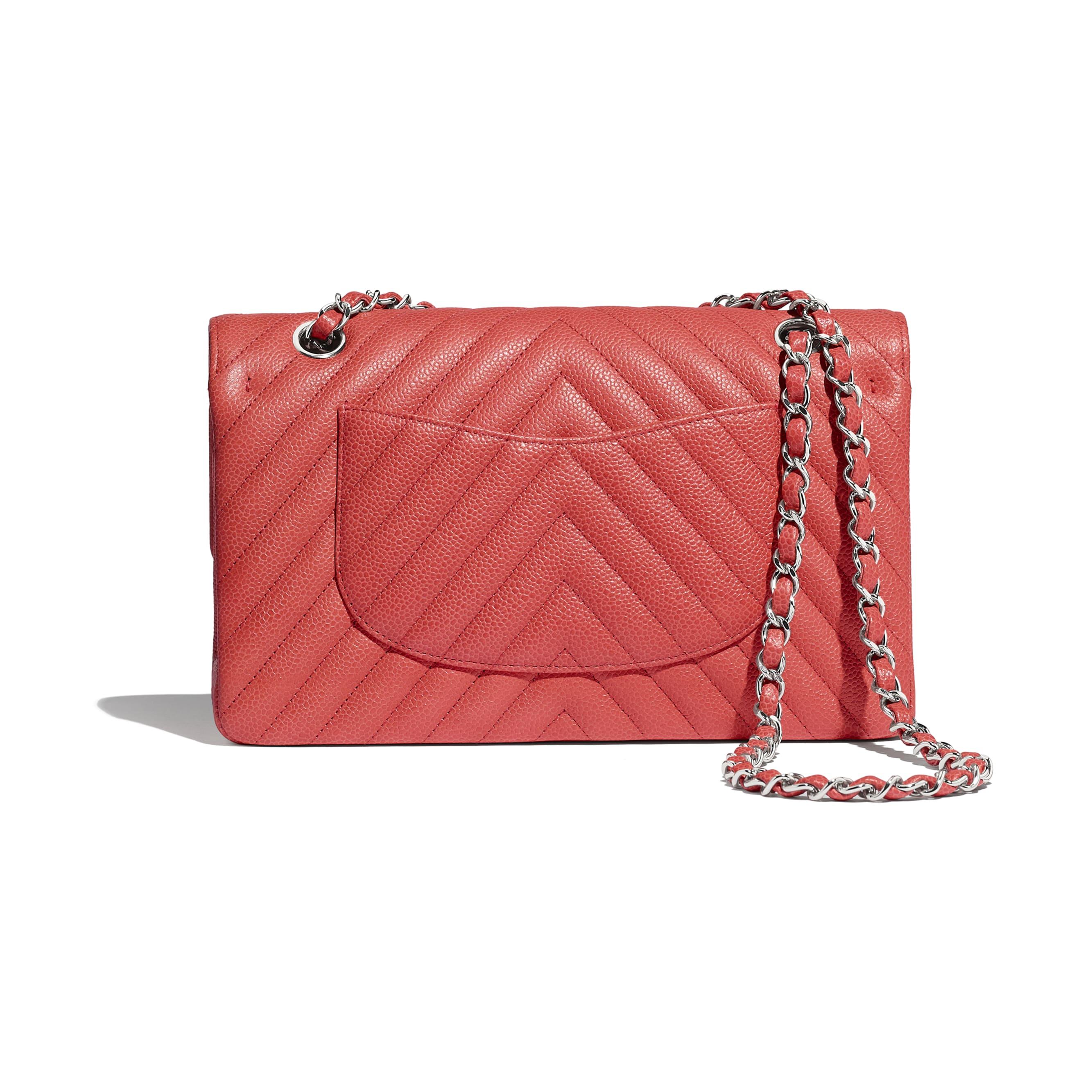 Classic Handbag - Coral - Grained Calfskin & Silver-Tone Metal - Alternative view - see standard sized version