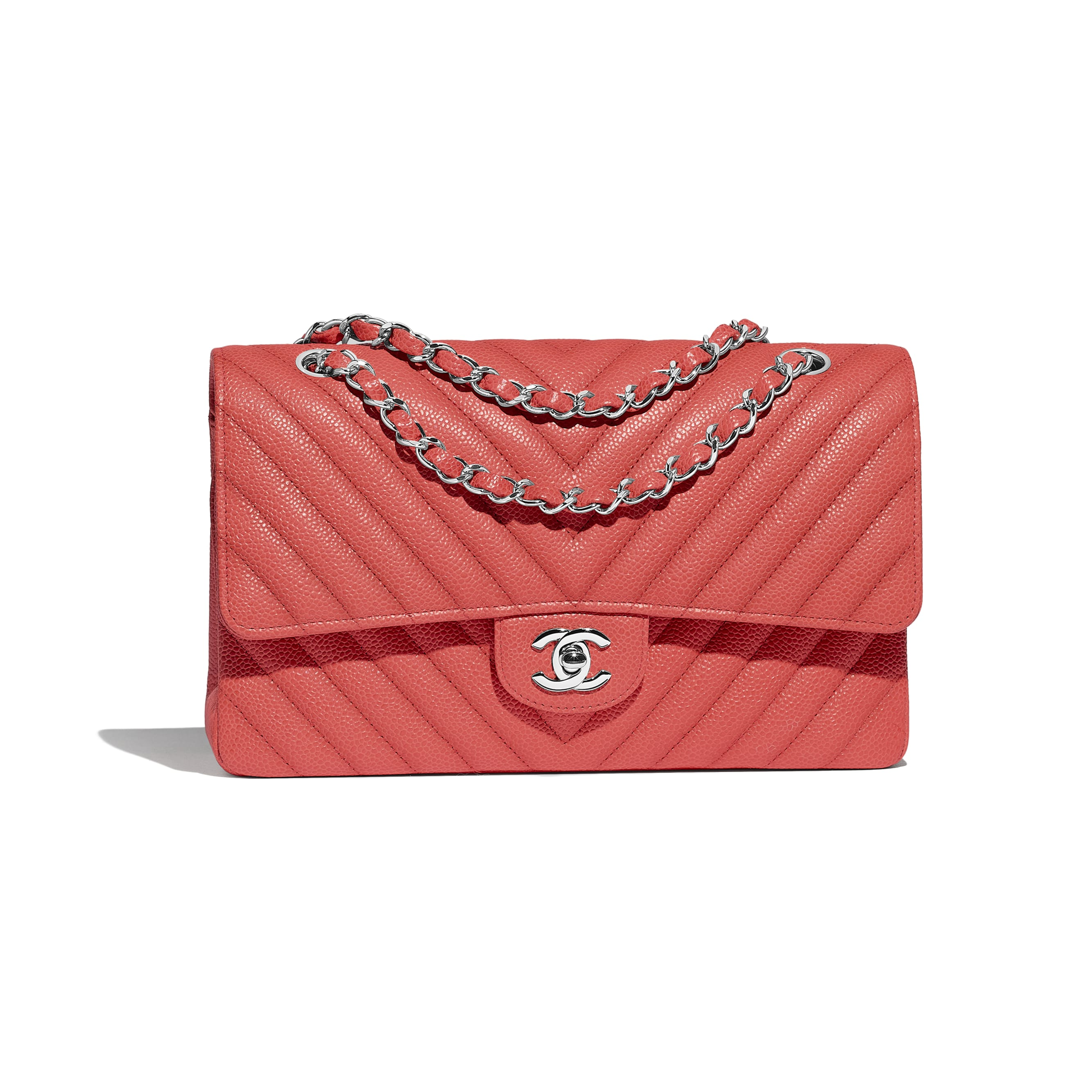 Classic Handbag - Coral - Grained Calfskin & Silver-Tone Metal - Default view - see standard sized version
