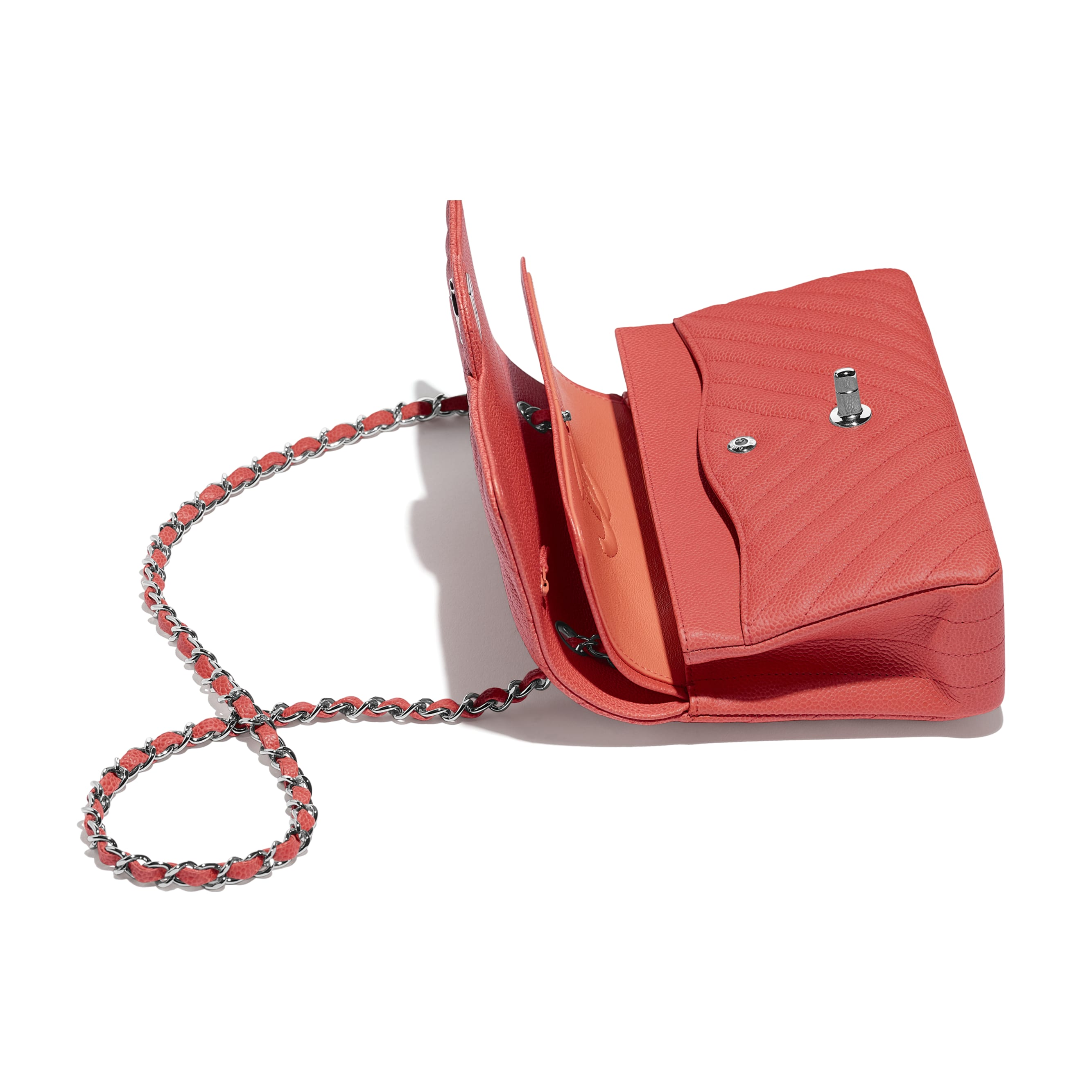 Classic Handbag - Coral - Grained Calfskin & Silver-Tone Metal - Other view - see standard sized version