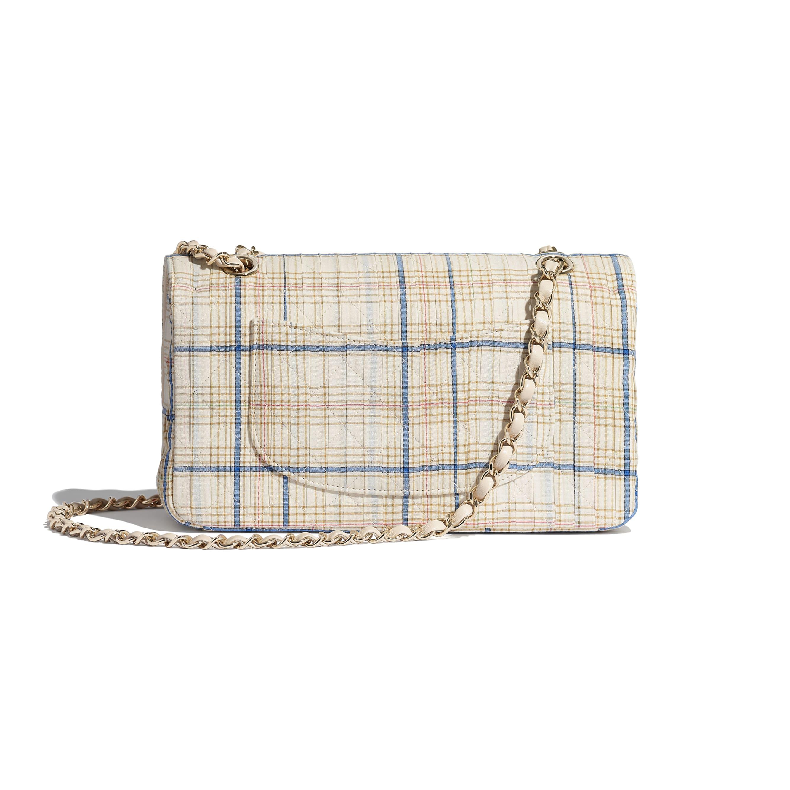 Classic Handbag - Ecru, Blue & Yellow - Cotton, Silk, Calfskin & Gold-Tone Metal - CHANEL - Alternative view - see standard sized version