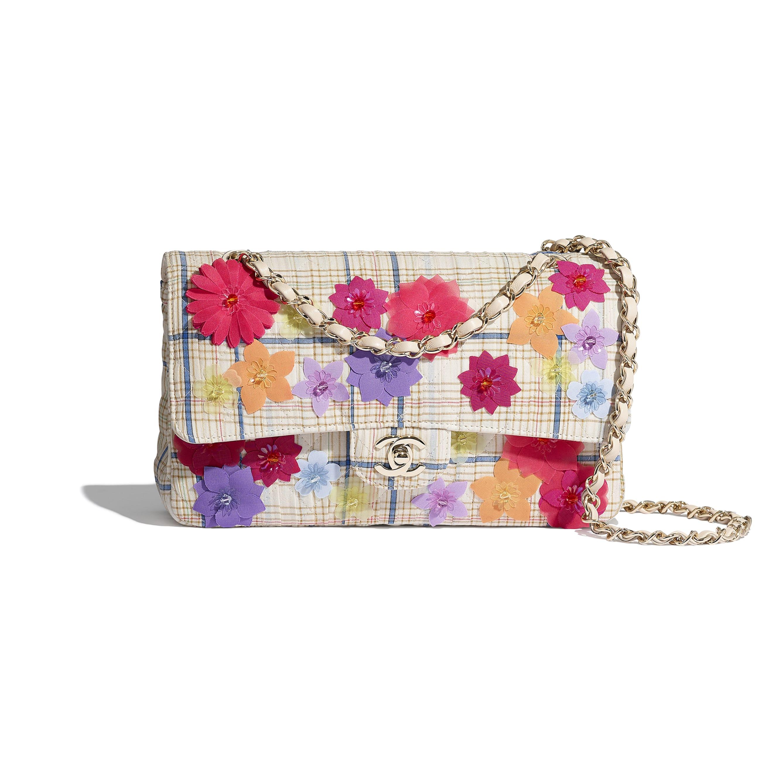 Classic Handbag - Ecru, Blue & Yellow - Cotton, Silk, Calfskin & Gold-Tone Metal - CHANEL - Default view - see standard sized version