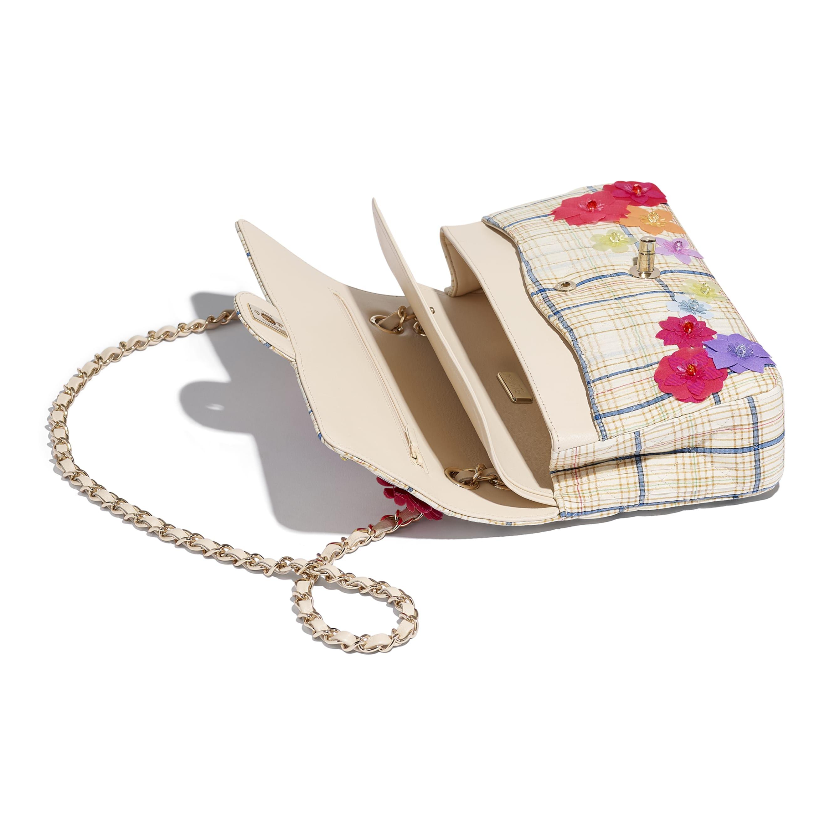 Classic Handbag - Ecru, Blue & Yellow - Cotton, Silk, Calfskin & Gold-Tone Metal - CHANEL - Other view - see standard sized version