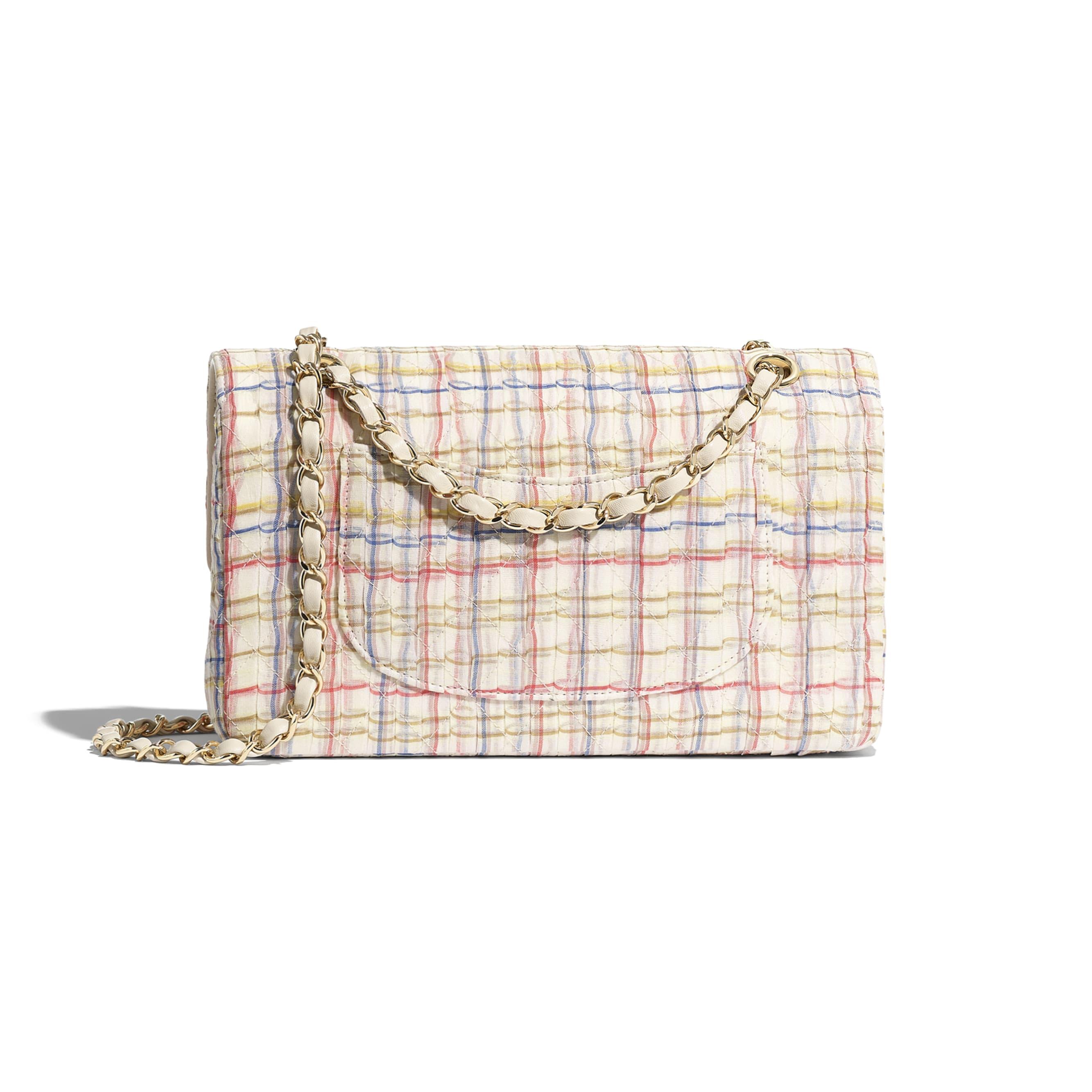 Classic Handbag - Ecru, Red, Blue & Yellow - Cotton, Silk, Calfskin & Gold-Tone Metal - Alternative view - see standard sized version