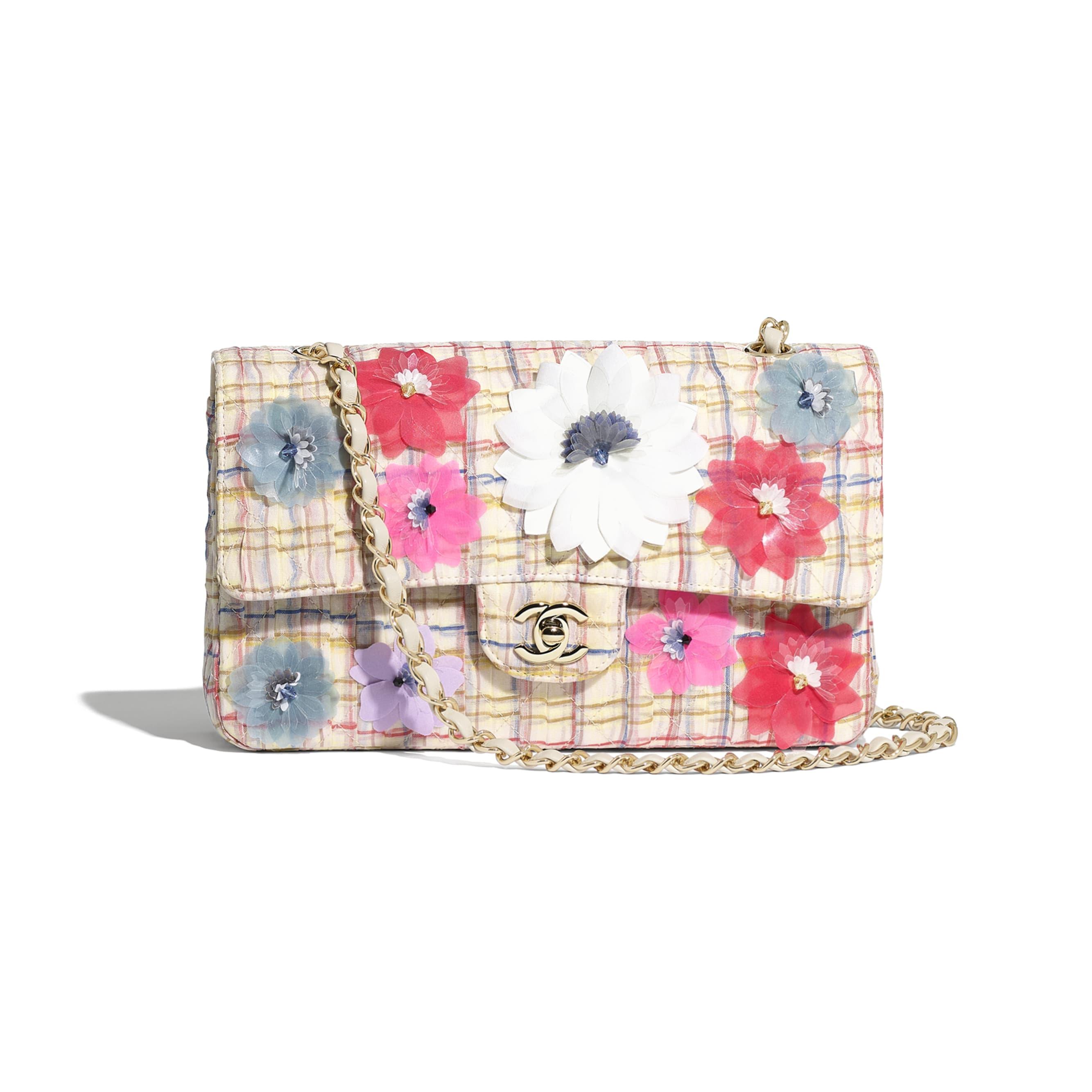 Classic Handbag - Ecru, Red, Blue & Yellow - Cotton, Silk, Calfskin & Gold-Tone Metal - Default view - see standard sized version