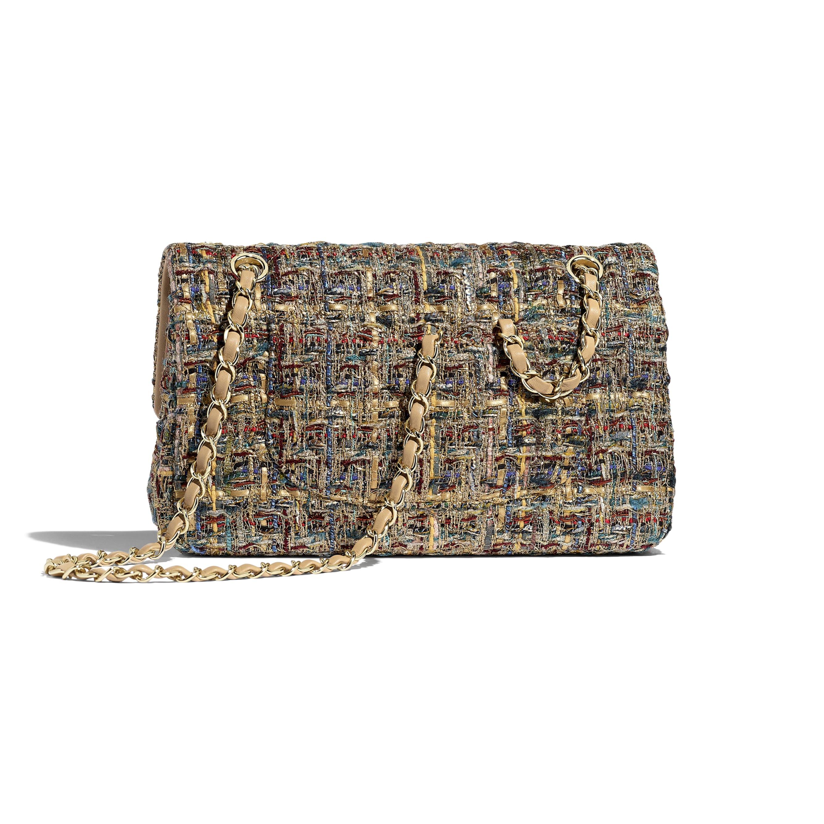 Classic Handbag - Gold, Blue & Green - Tweed & Gold-Tone Metal - Alternative view - see standard sized version