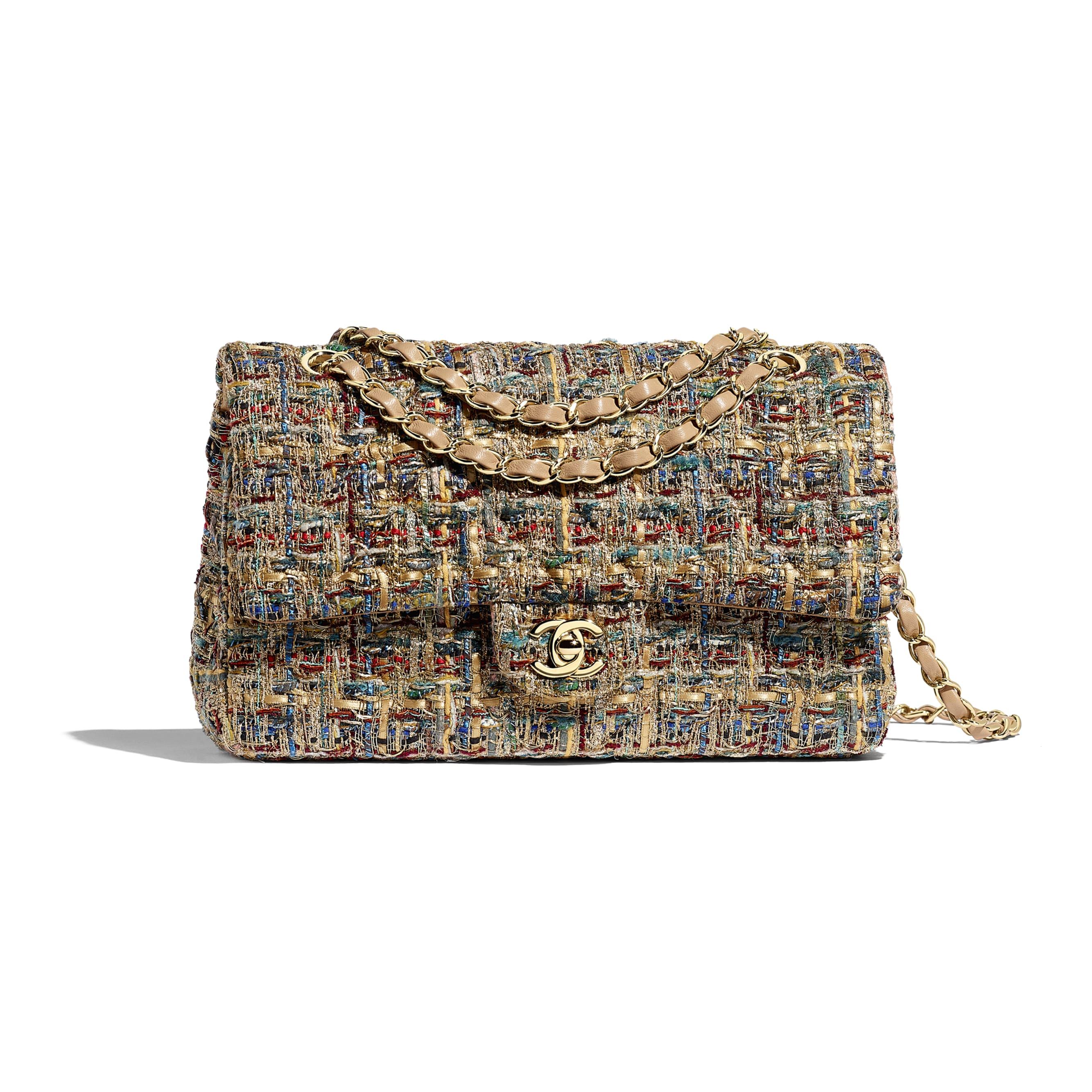 Classic Handbag - Gold, Blue & Green - Tweed & Gold-Tone Metal - Default view - see standard sized version