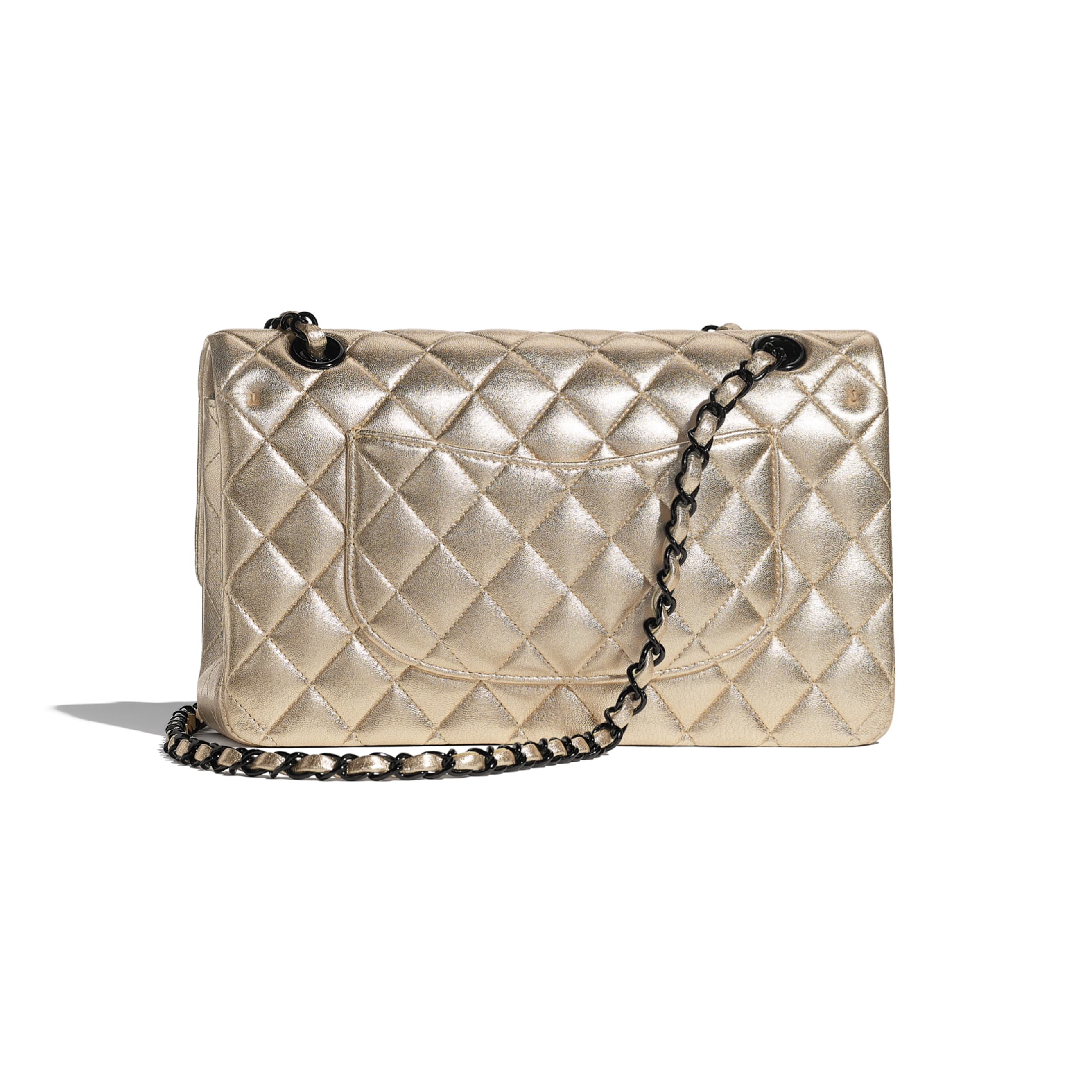 Classic Handbag - Gold - Metallic Lambskin & Black Metal - CHANEL - Alternative view - see standard sized version