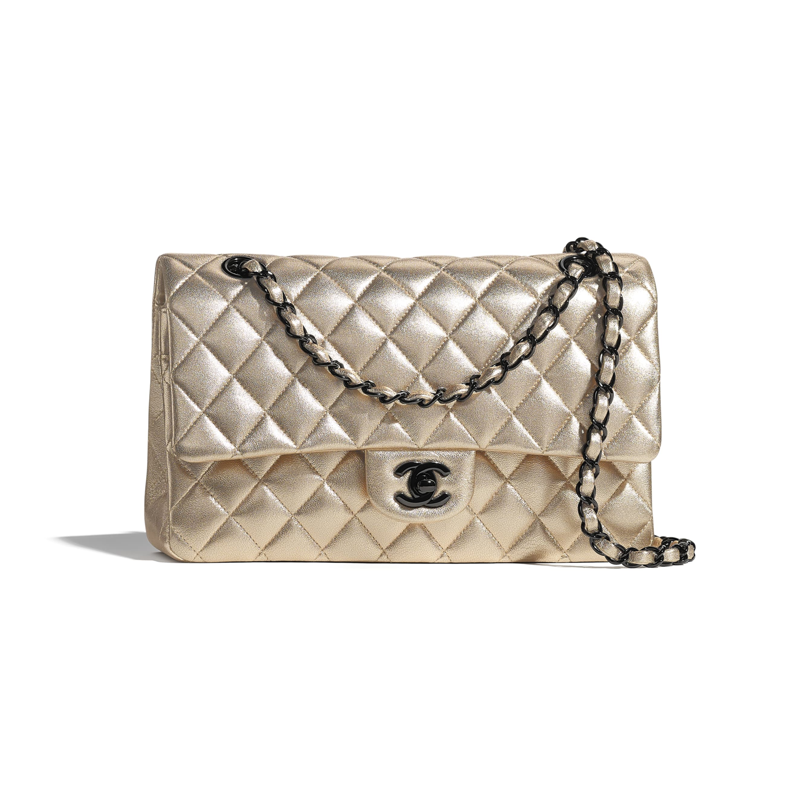 Classic Handbag - Gold - Metallic Lambskin & Black Metal - CHANEL - Default view - see standard sized version