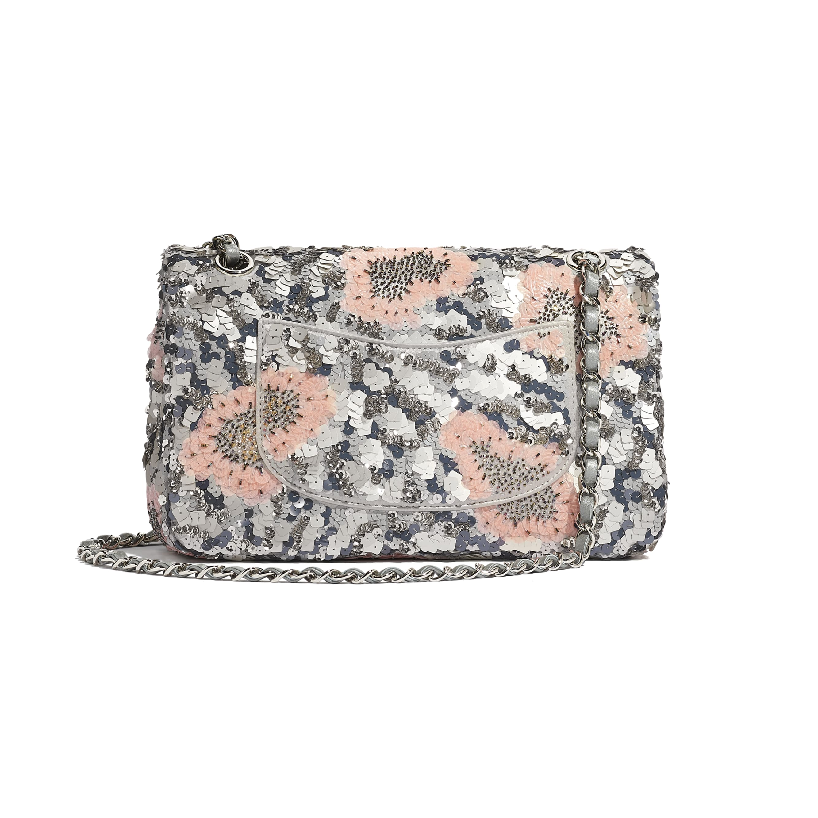 Classic Handbag - Gray, Silver & Pink - Sequins, Glass Pearls & Silver-Tone Metal - CHANEL - Alternative view - see standard sized version