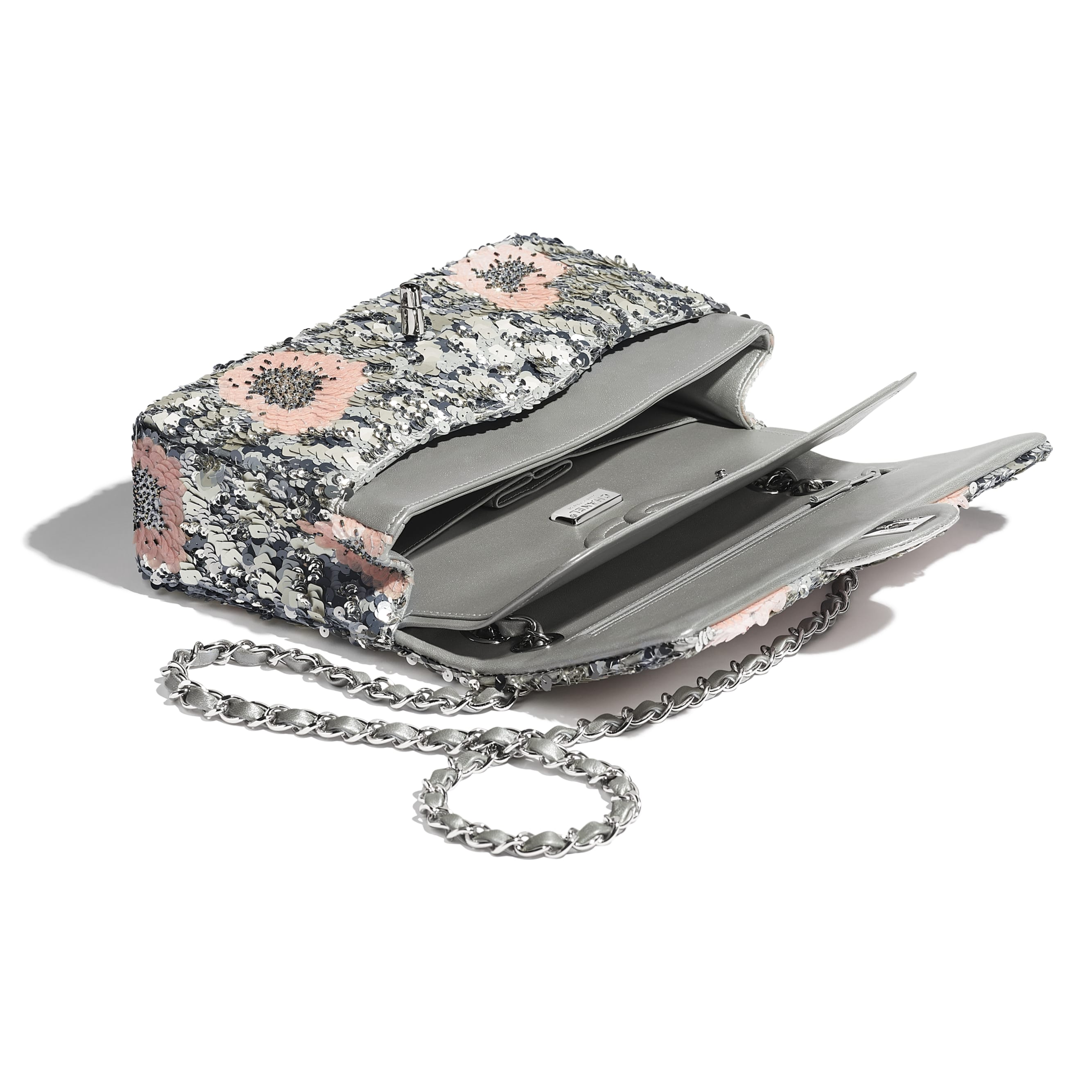 Classic Handbag - Gray, Silver & Pink - Sequins, Glass Pearls & Silver-Tone Metal - CHANEL - Other view - see standard sized version