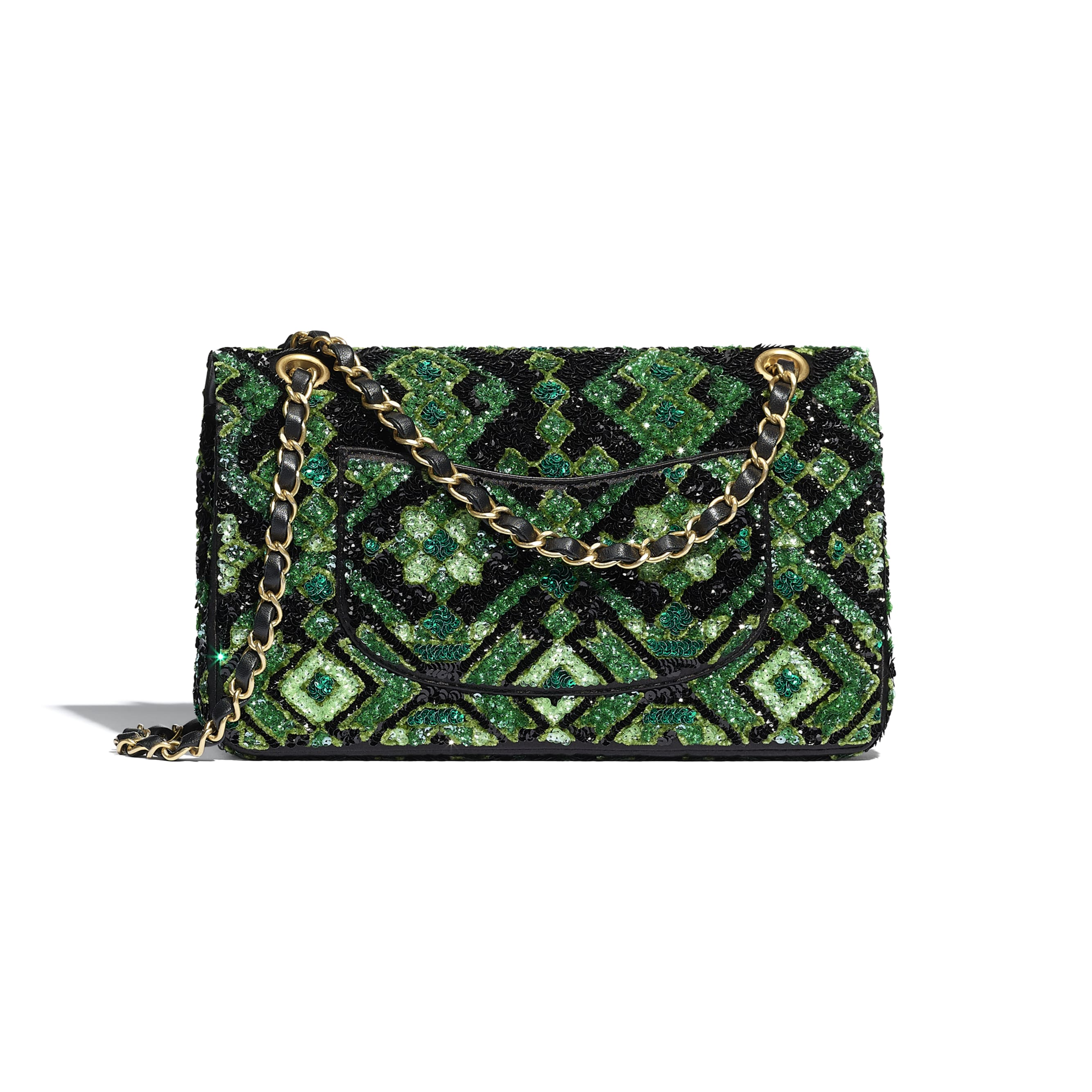 Classic Handbag - Green & Black - Sequins & Gold-Tone Metal - CHANEL - Alternative view - see standard sized version