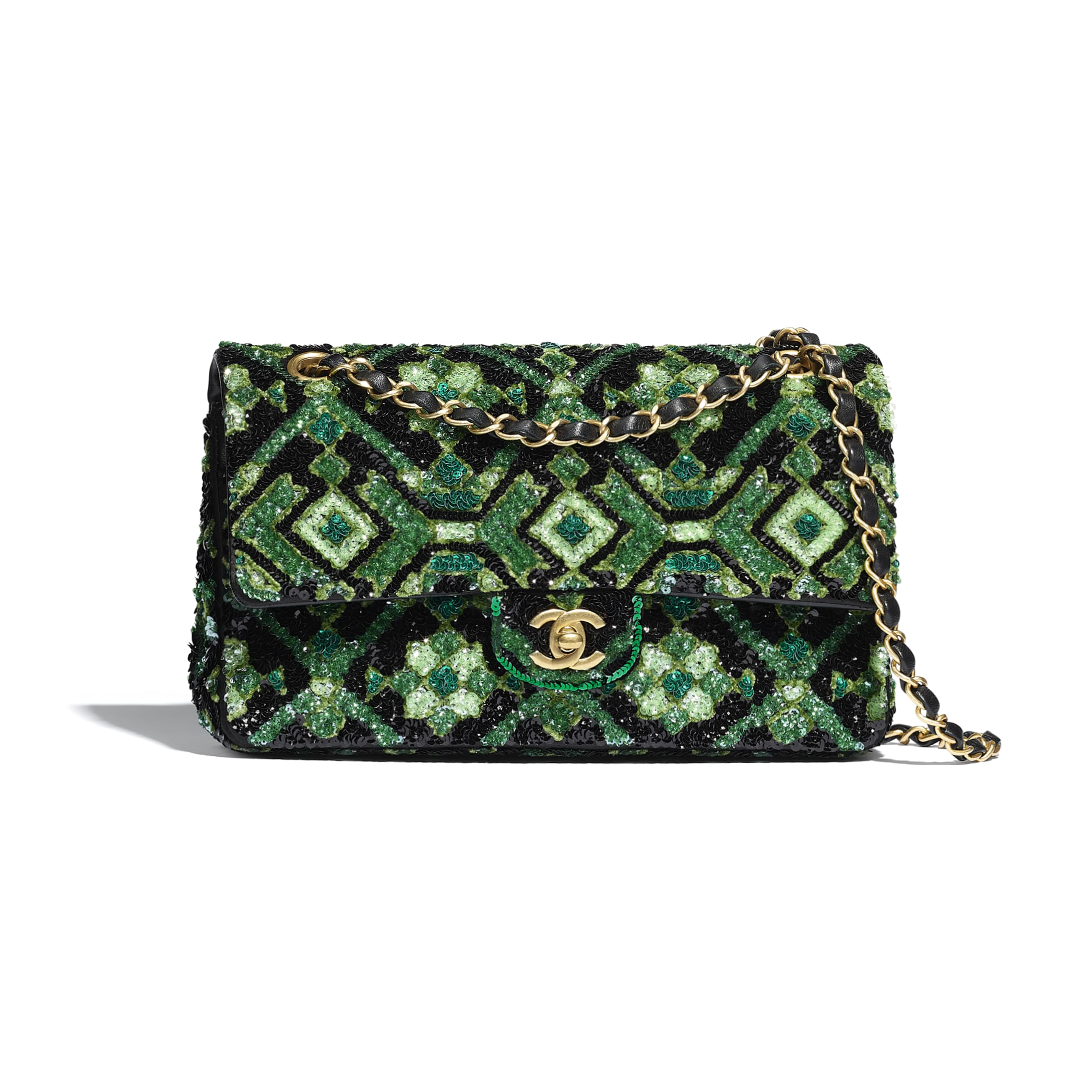 Classic Handbag - Green & Black - Sequins & Gold-Tone Metal - CHANEL - Default view - see standard sized version