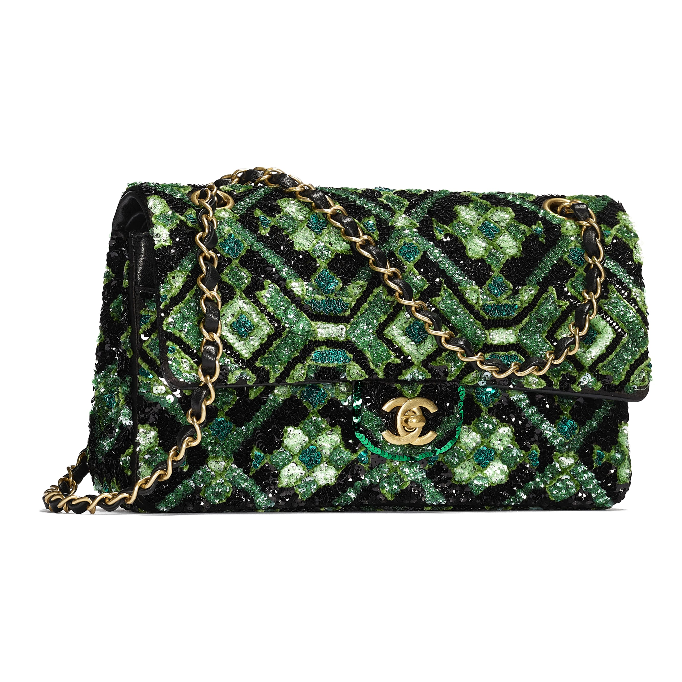 Classic Handbag - Green & Black - Sequins & Gold-Tone Metal - CHANEL - Extra view - see standard sized version