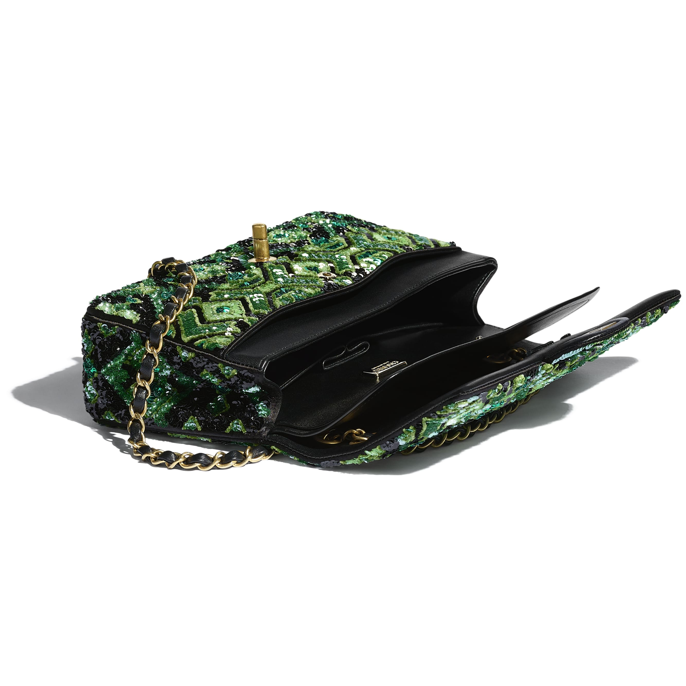 Classic Handbag - Green & Black - Sequins & Gold-Tone Metal - CHANEL - Other view - see standard sized version