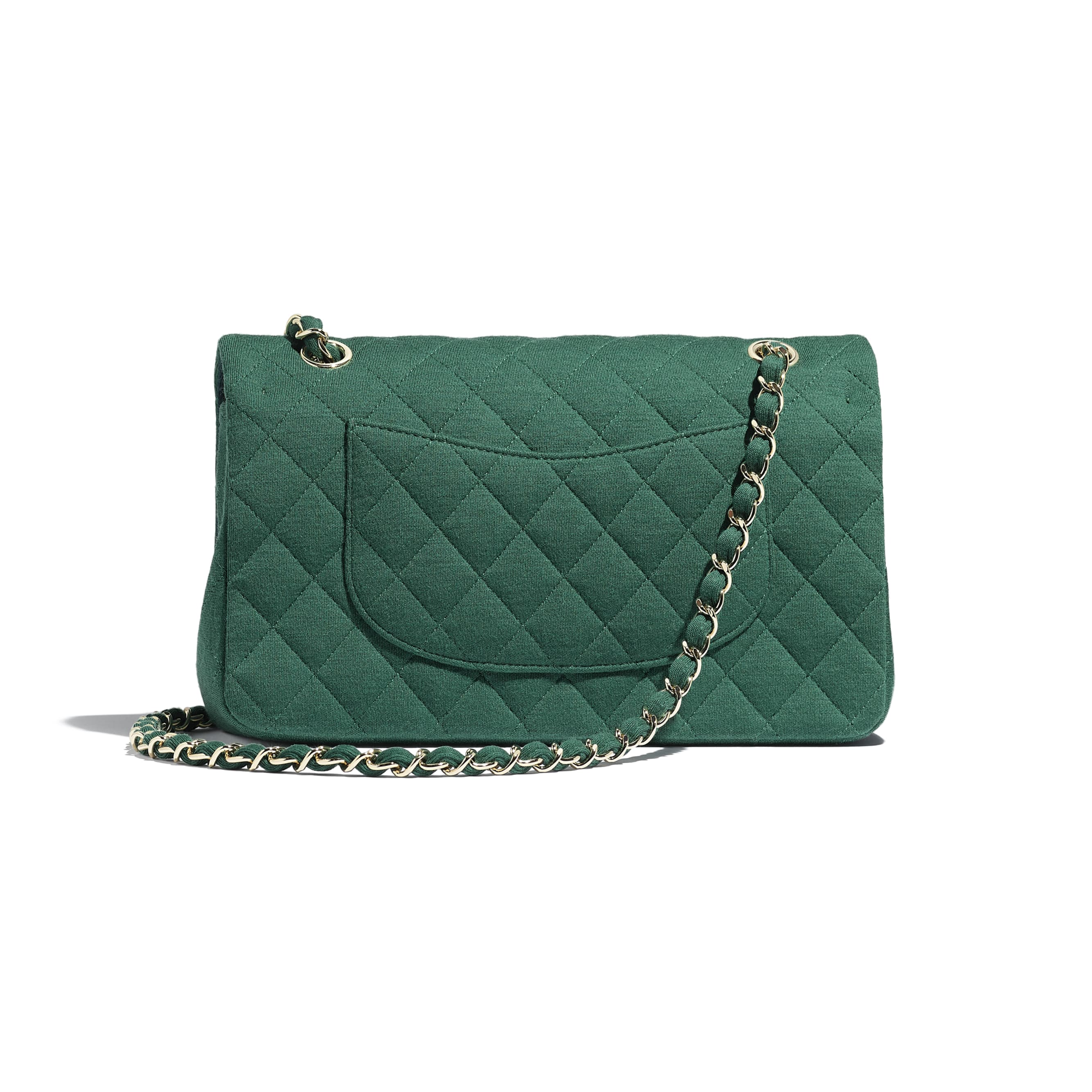 Classic Handbag - Green - Jersey & Gold-Tone Metal - Alternative view - see standard sized version