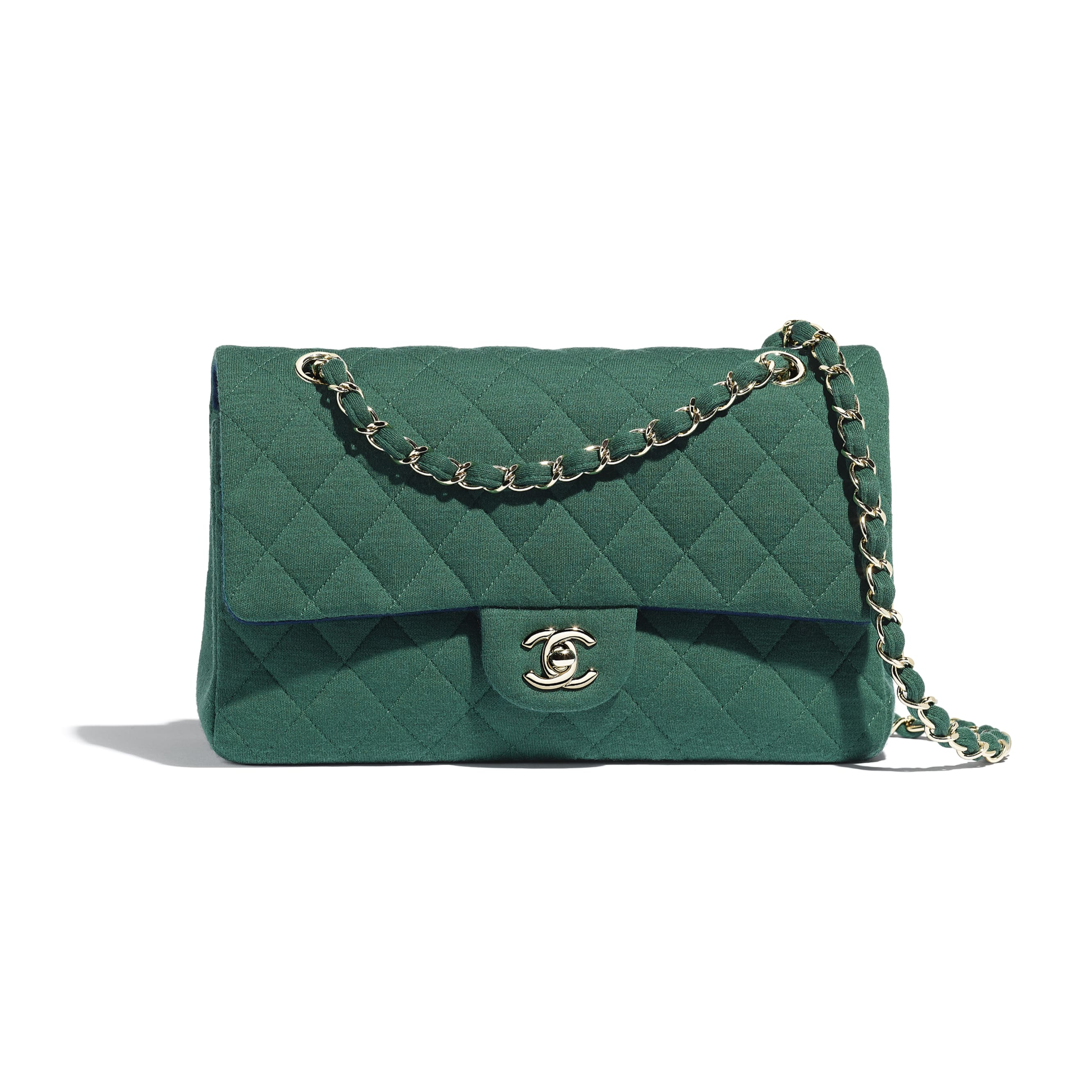 Classic Handbag - Green - Jersey & Gold-Tone Metal - Default view - see standard sized version