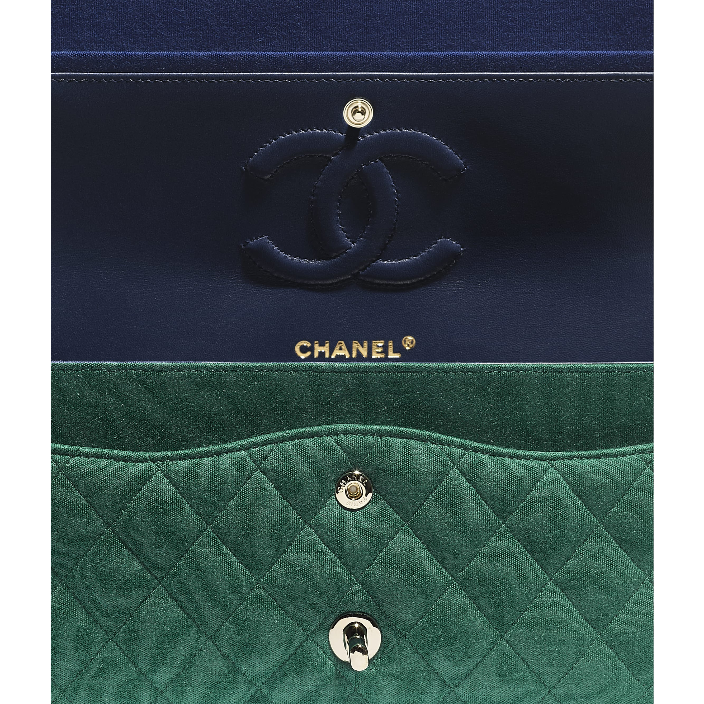 Classic Handbag - Green - Jersey & Gold-Tone Metal - Extra view - see standard sized version