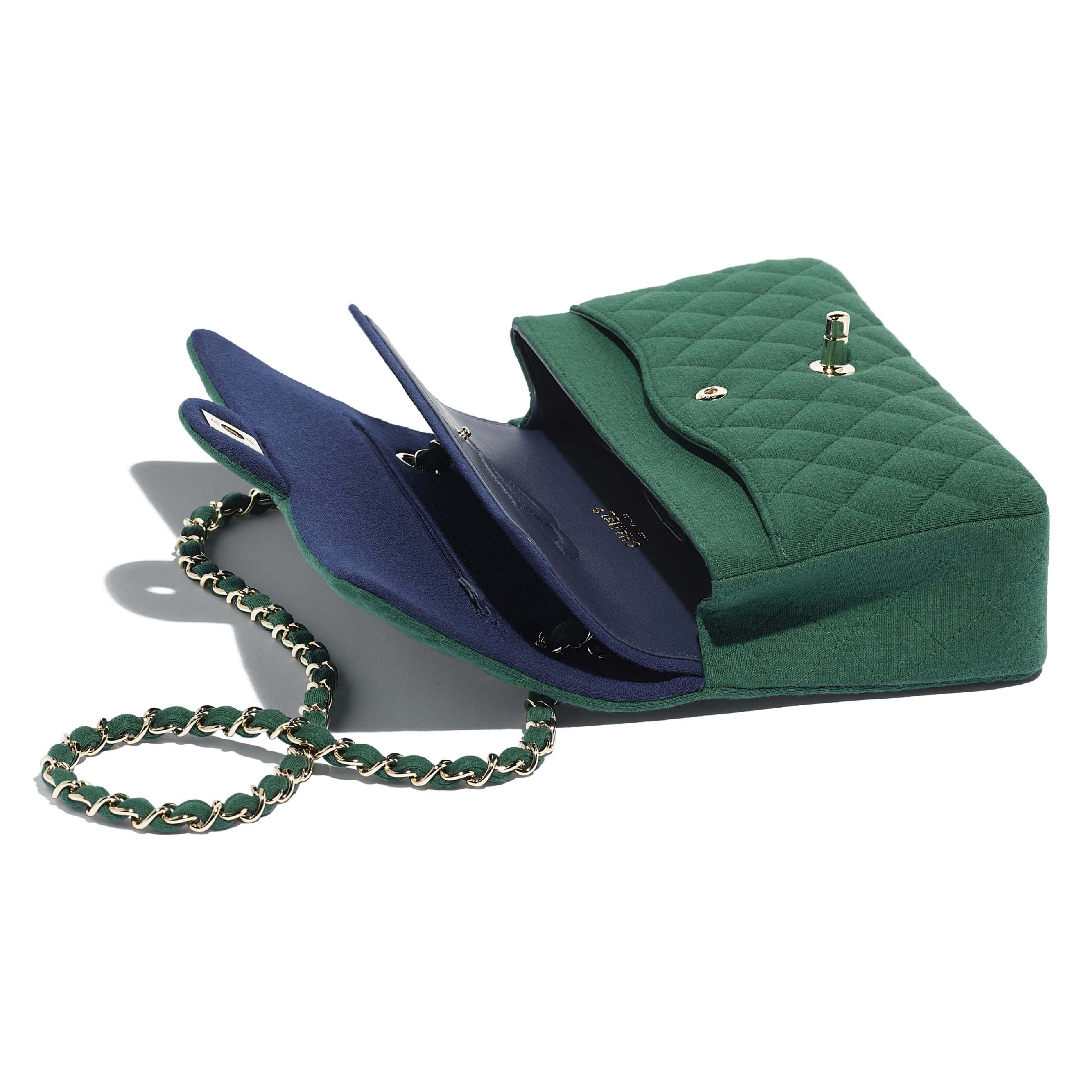 Classic Handbag - Green - Jersey & Gold-Tone Metal - Other view - see standard sized version