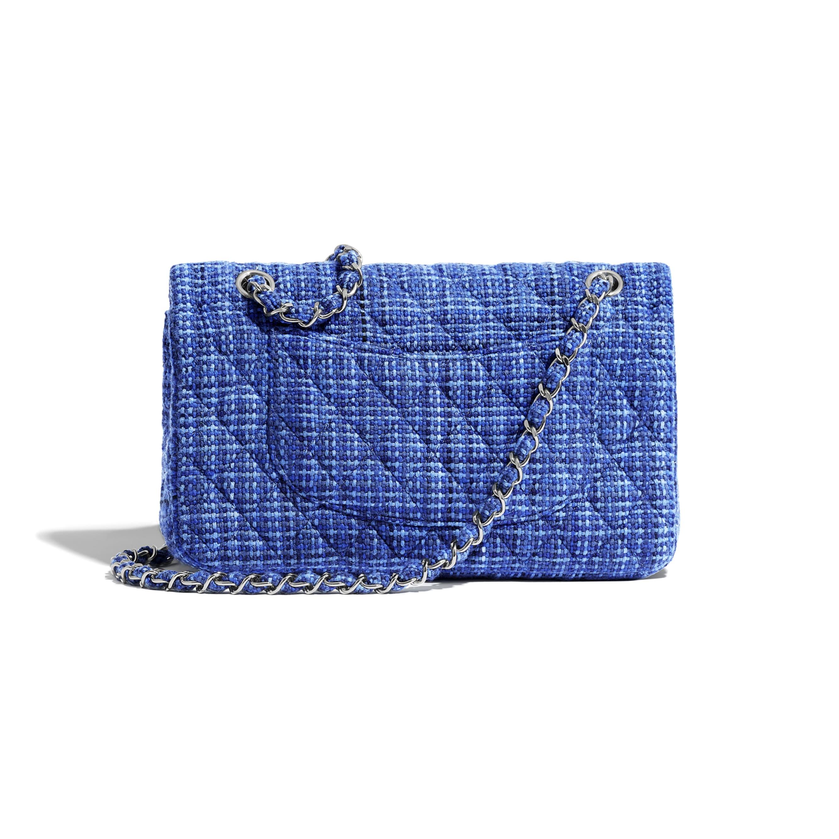 Classic Handbag - Navy Blue & Blue - Tweed & Silver-Tone Metal - CHANEL - Alternative view - see standard sized version