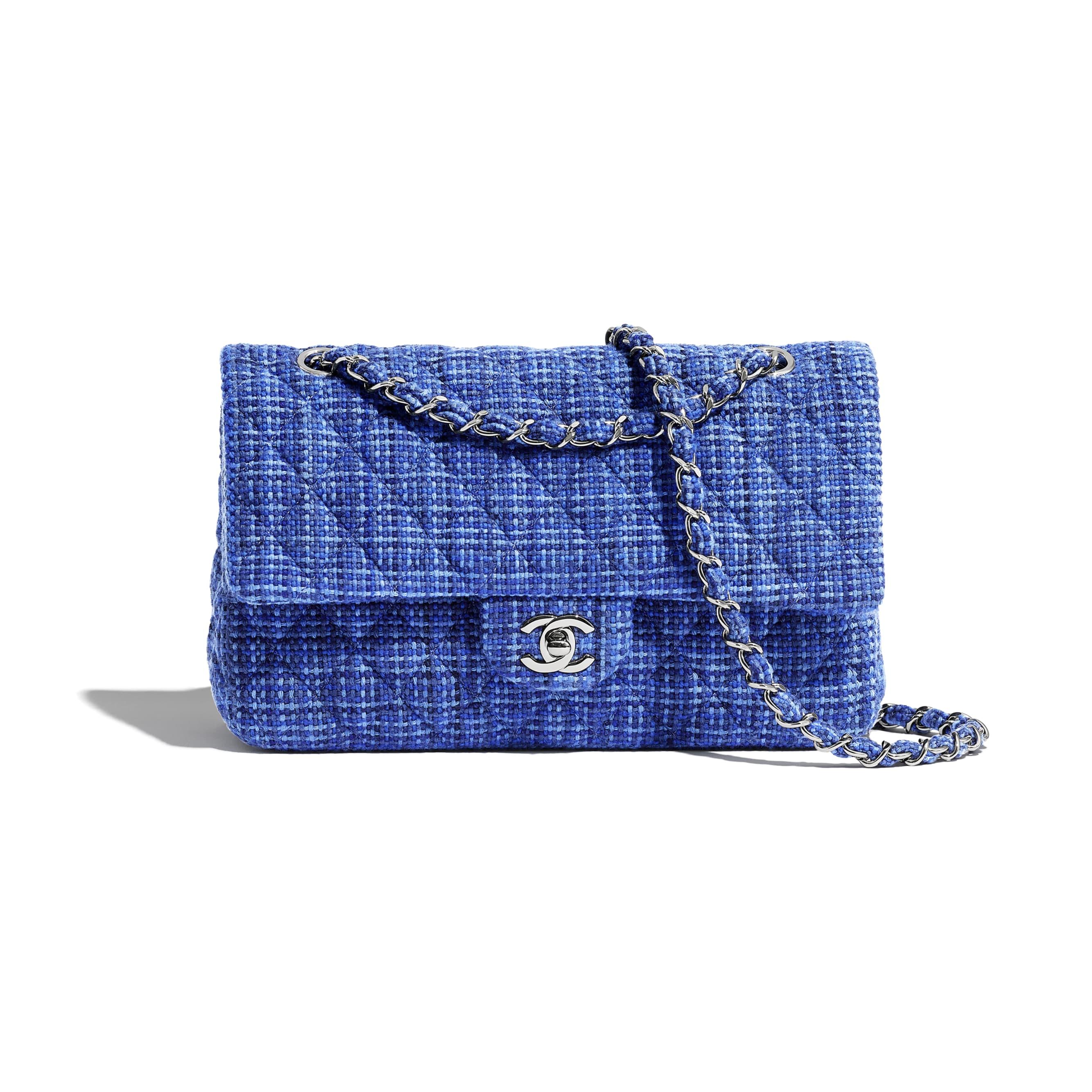 Classic Handbag - Navy Blue & Blue - Tweed & Silver-Tone Metal - CHANEL - Default view - see standard sized version