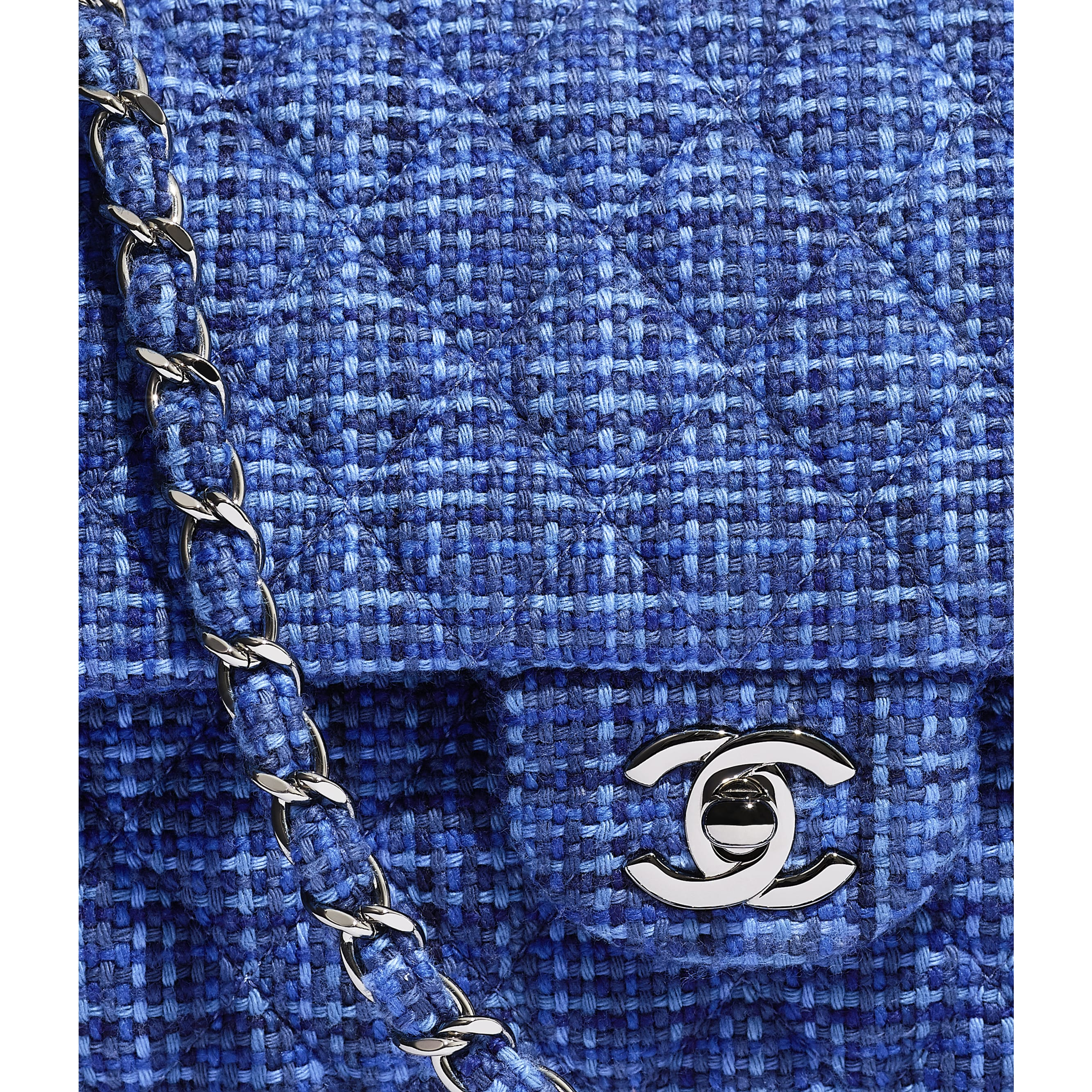 Classic Handbag - Navy Blue & Blue - Tweed & Silver-Tone Metal - CHANEL - Extra view - see standard sized version