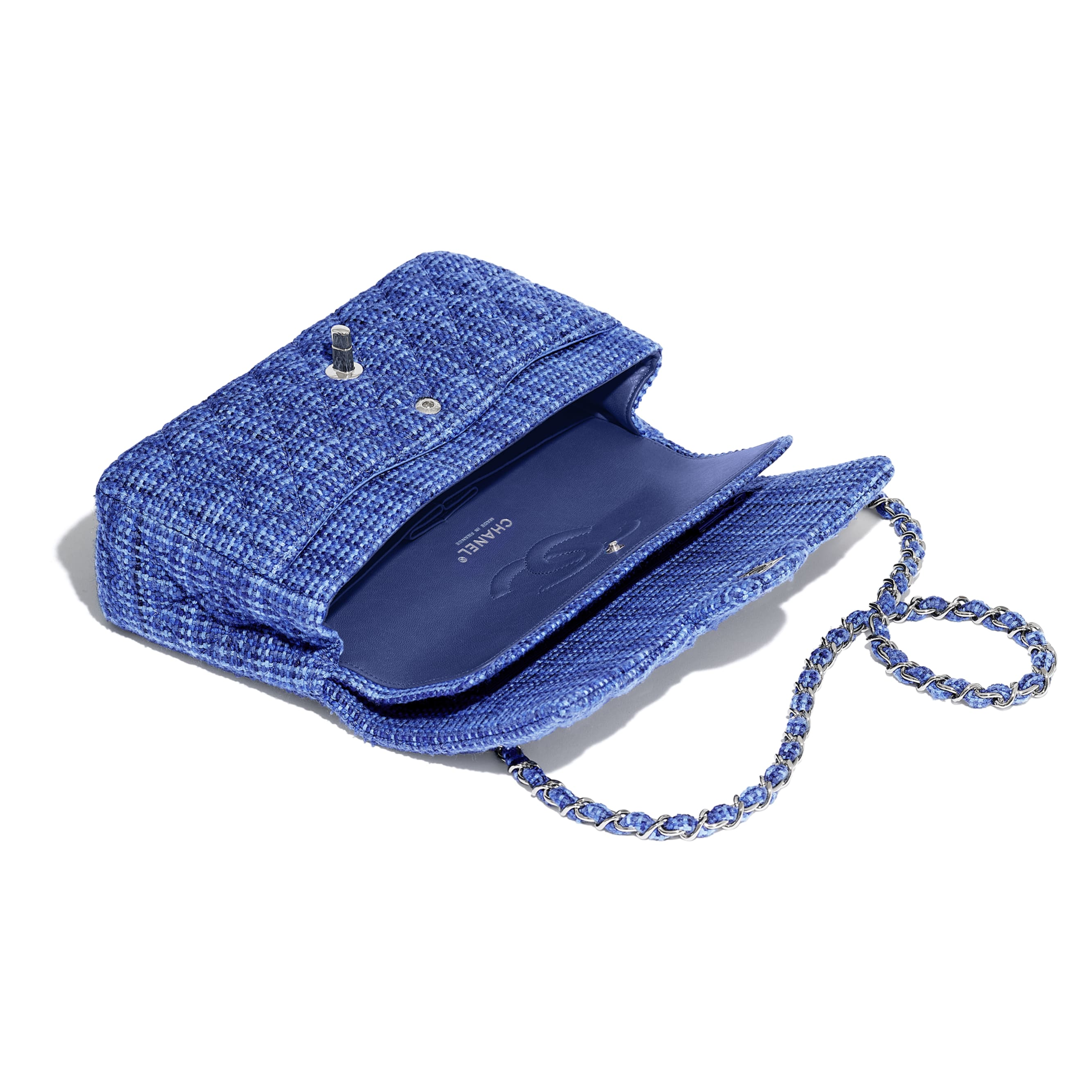 Classic Handbag - Navy Blue & Blue - Tweed & Silver-Tone Metal - CHANEL - Other view - see standard sized version