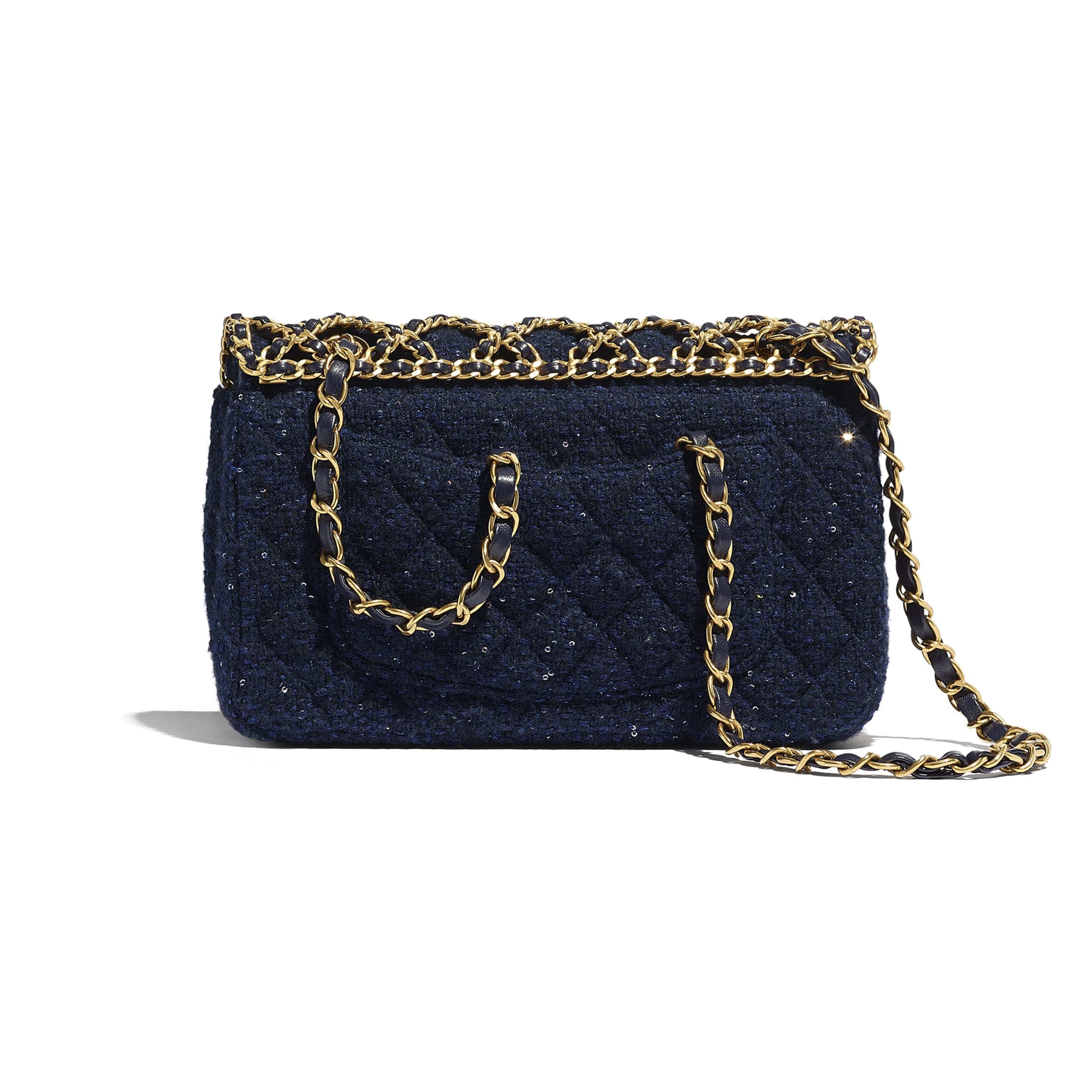 Classic Handbag - Navy Blue - Tweed, Sequins & Gold-Tone Metal - CHANEL - Alternative view - see standard sized version
