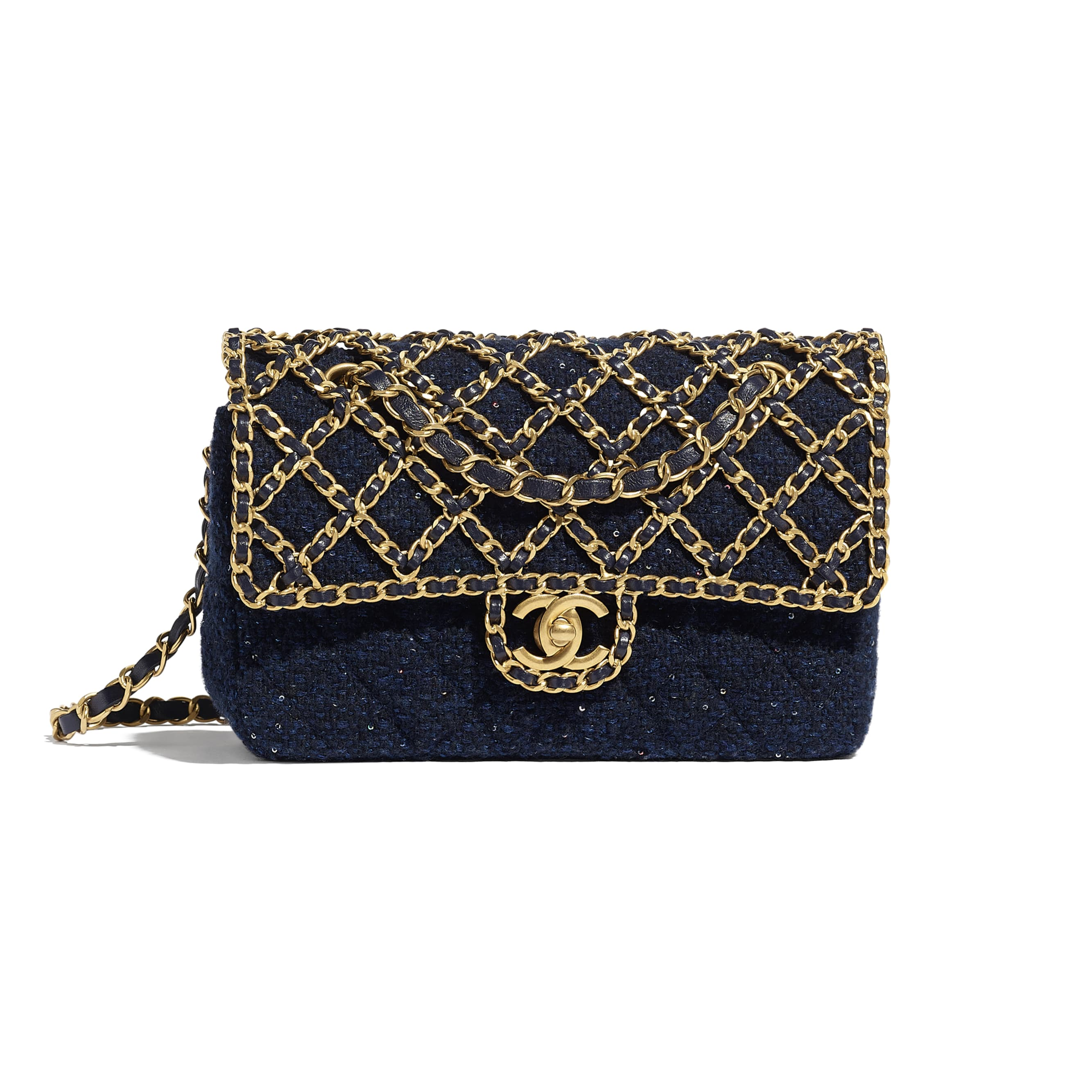 Classic Handbag - Navy Blue - Tweed, Sequins & Gold-Tone Metal - CHANEL - Default view - see standard sized version