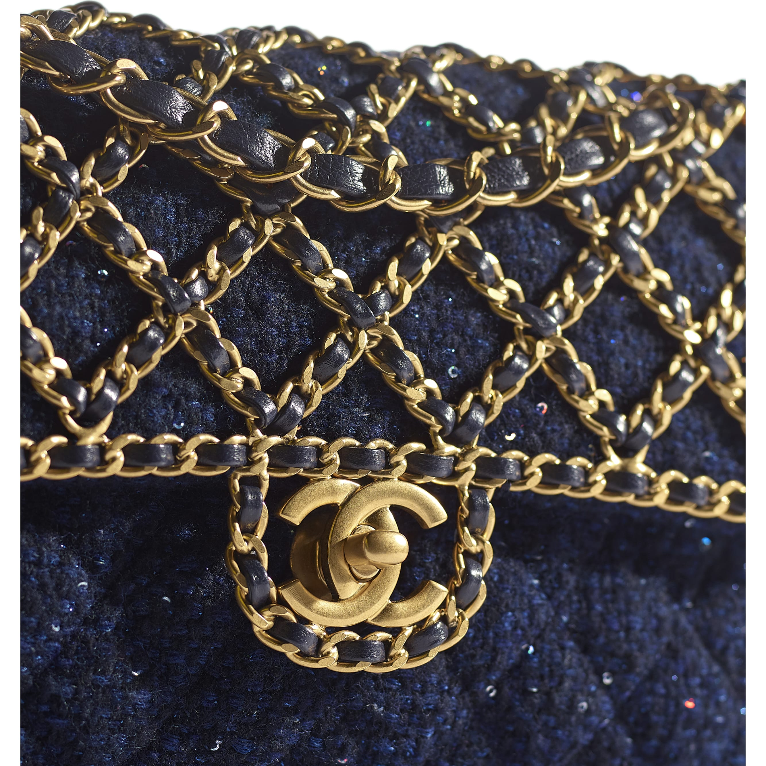 Classic Handbag - Navy Blue - Tweed, Sequins & Gold-Tone Metal - CHANEL - Extra view - see standard sized version