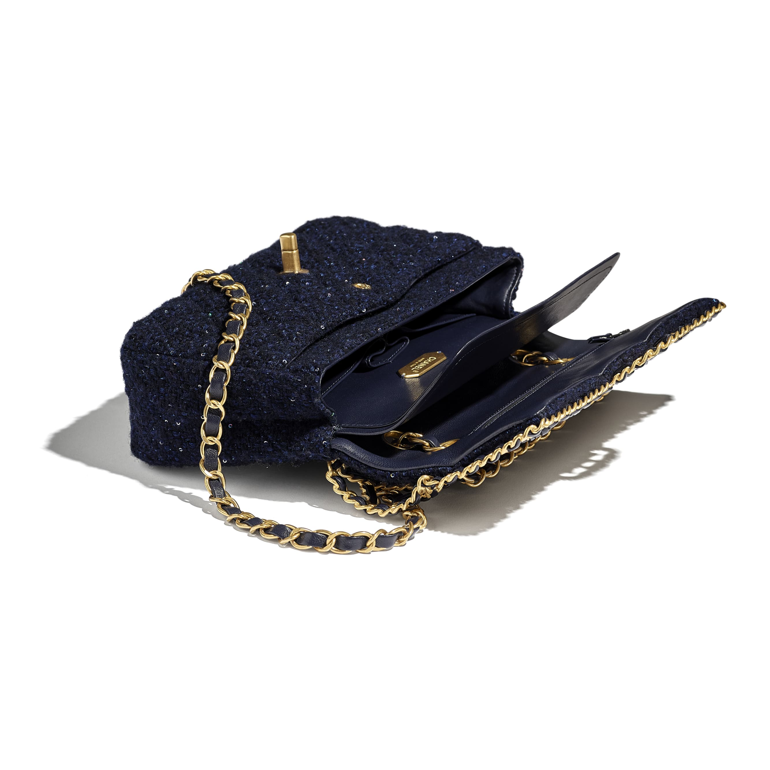 Classic Handbag - Navy Blue - Tweed, Sequins & Gold-Tone Metal - CHANEL - Other view - see standard sized version