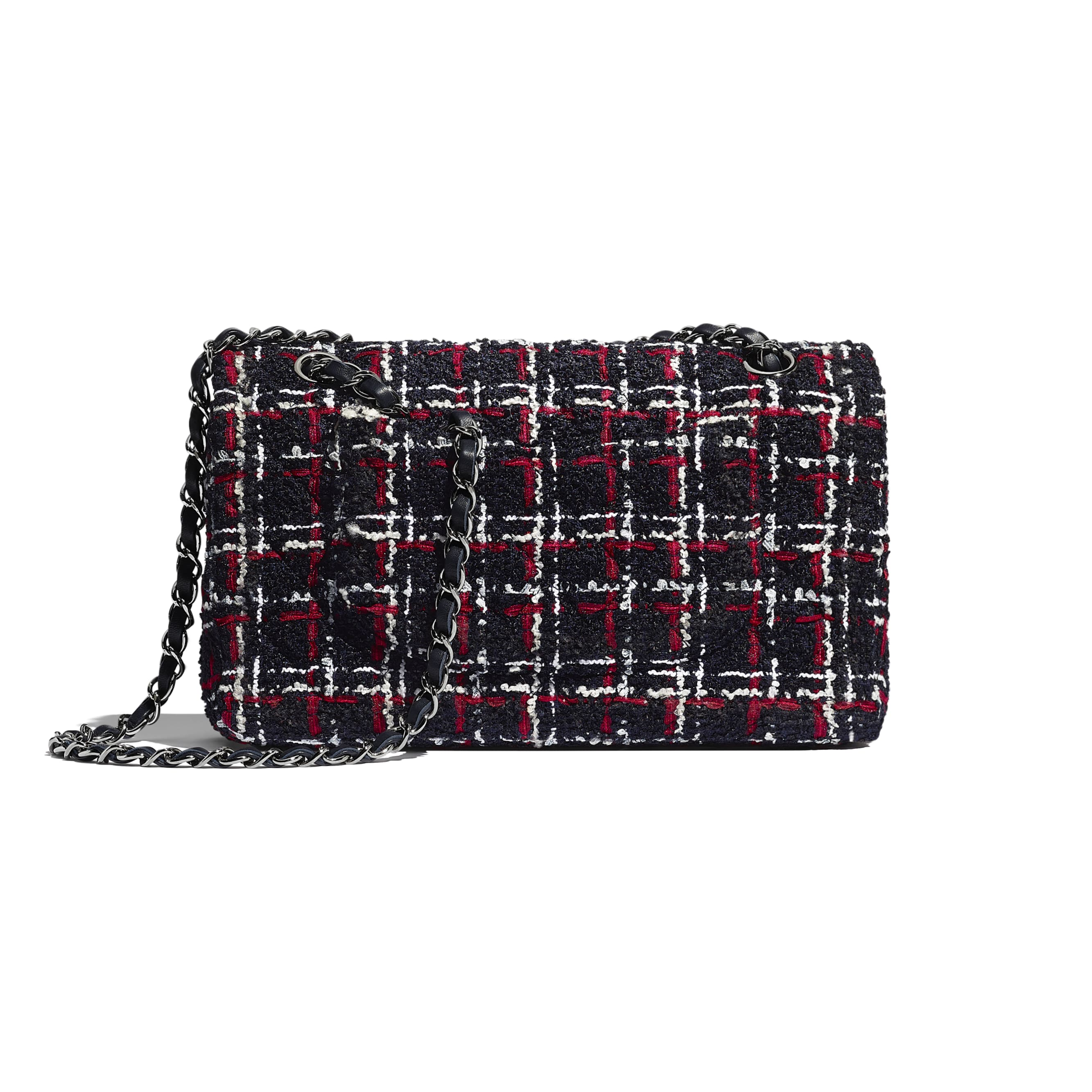 Classic Handbag - Navy Blue, White & Red - Tweed & Ruthenium-Finish Metal - CHANEL - Alternative view - see standard sized version