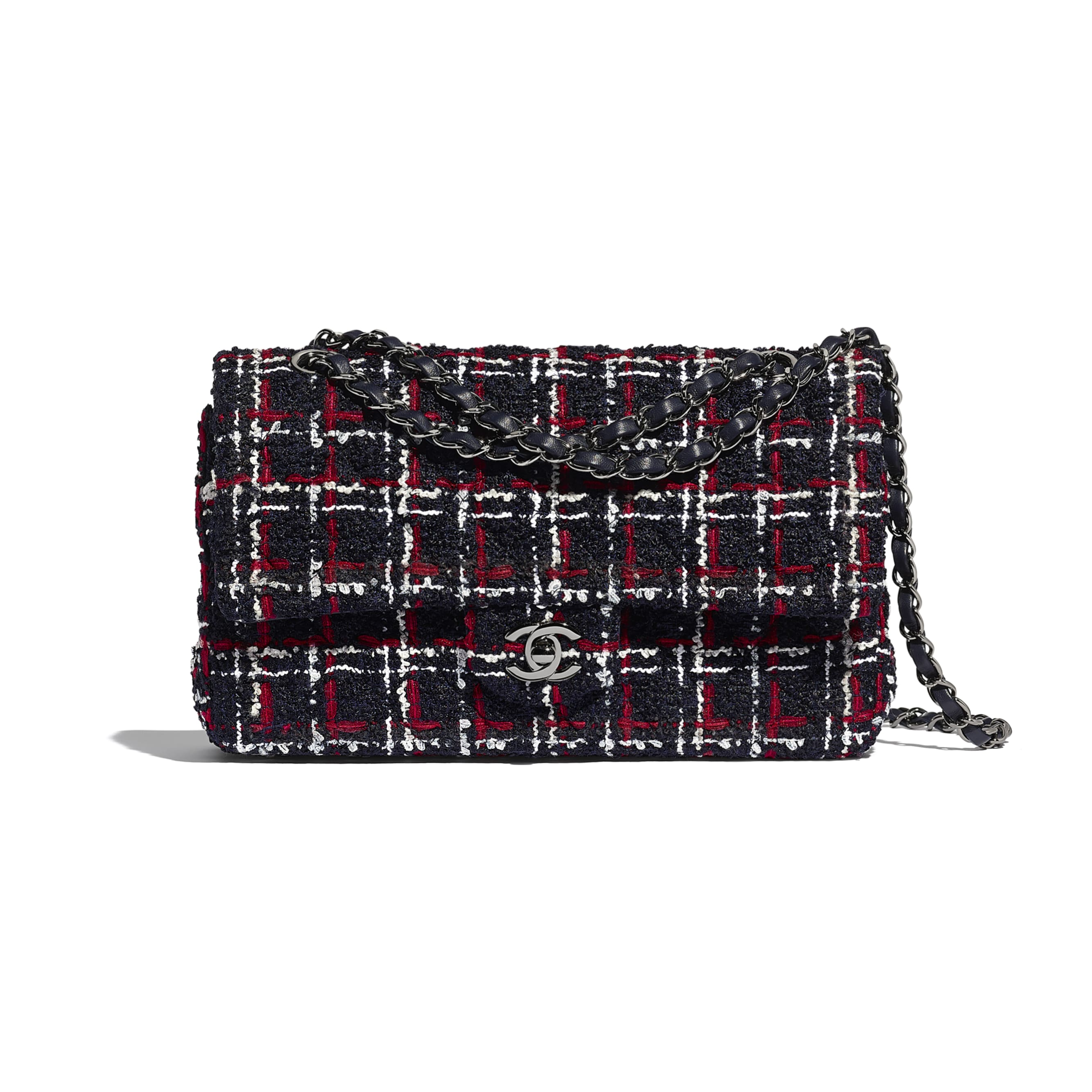 Classic Handbag - Navy Blue, White & Red - Tweed & Ruthenium-Finish Metal - CHANEL - Default view - see standard sized version